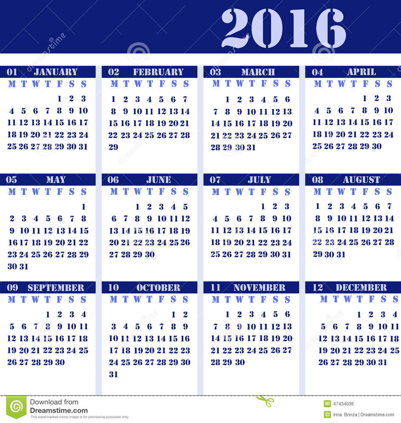 Calendar For The Year 2016 Stock Illustration - Image: 47434036