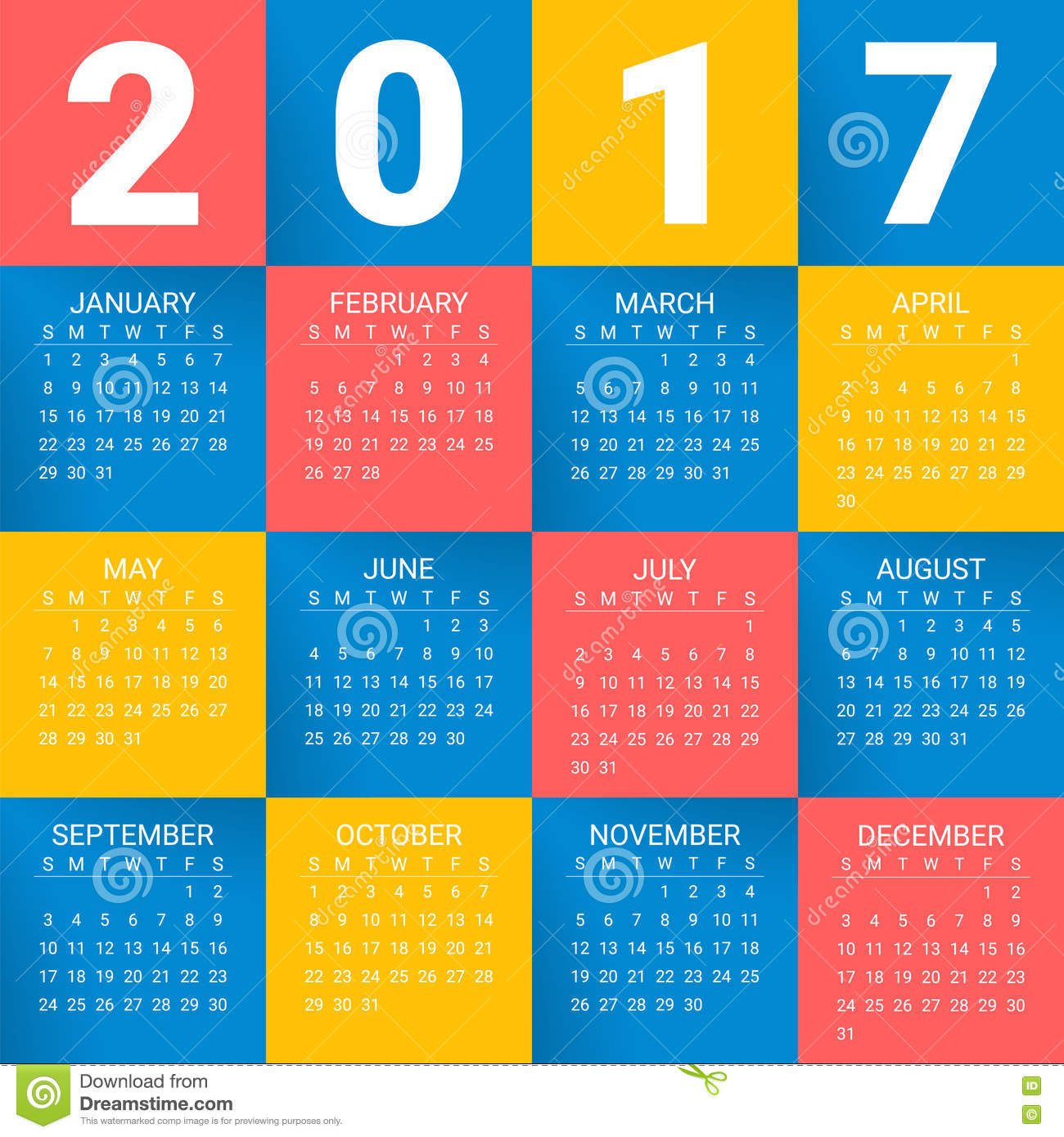 Calendar Background Design : Calendar for year on bright colorful background week
