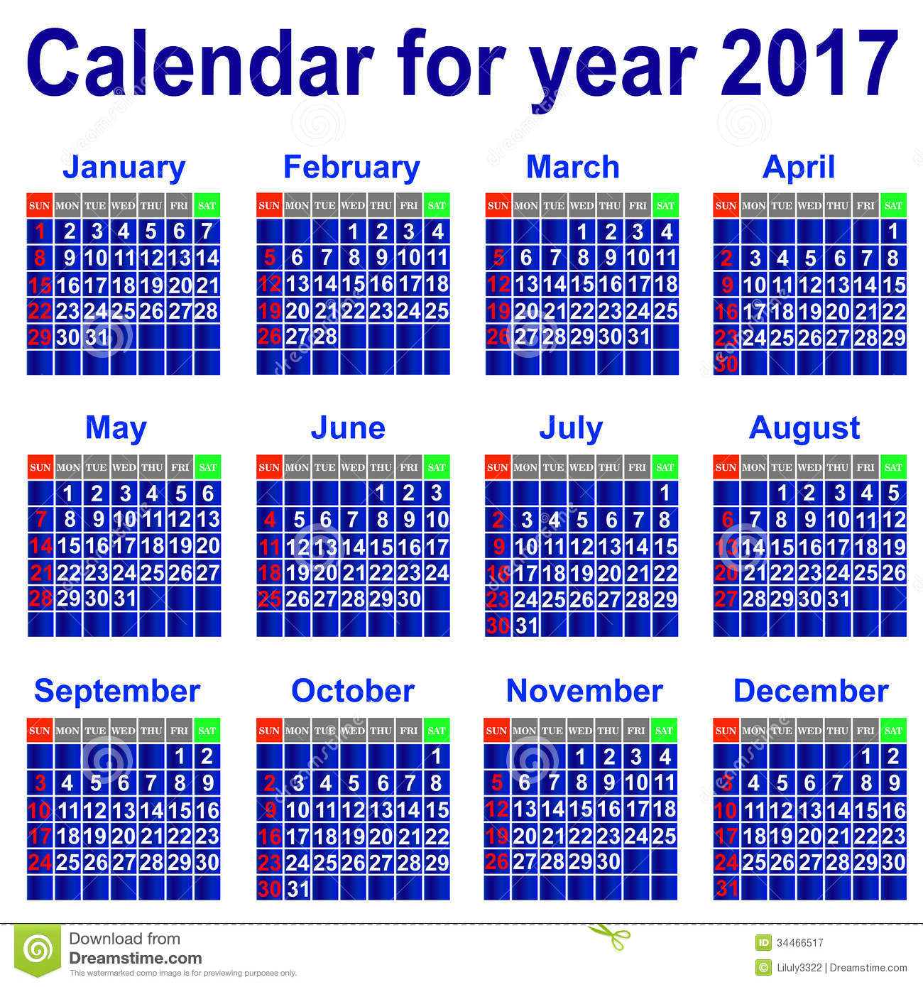 Calendar For 2017 Year. Royalty Free Stock Photography - Image ...