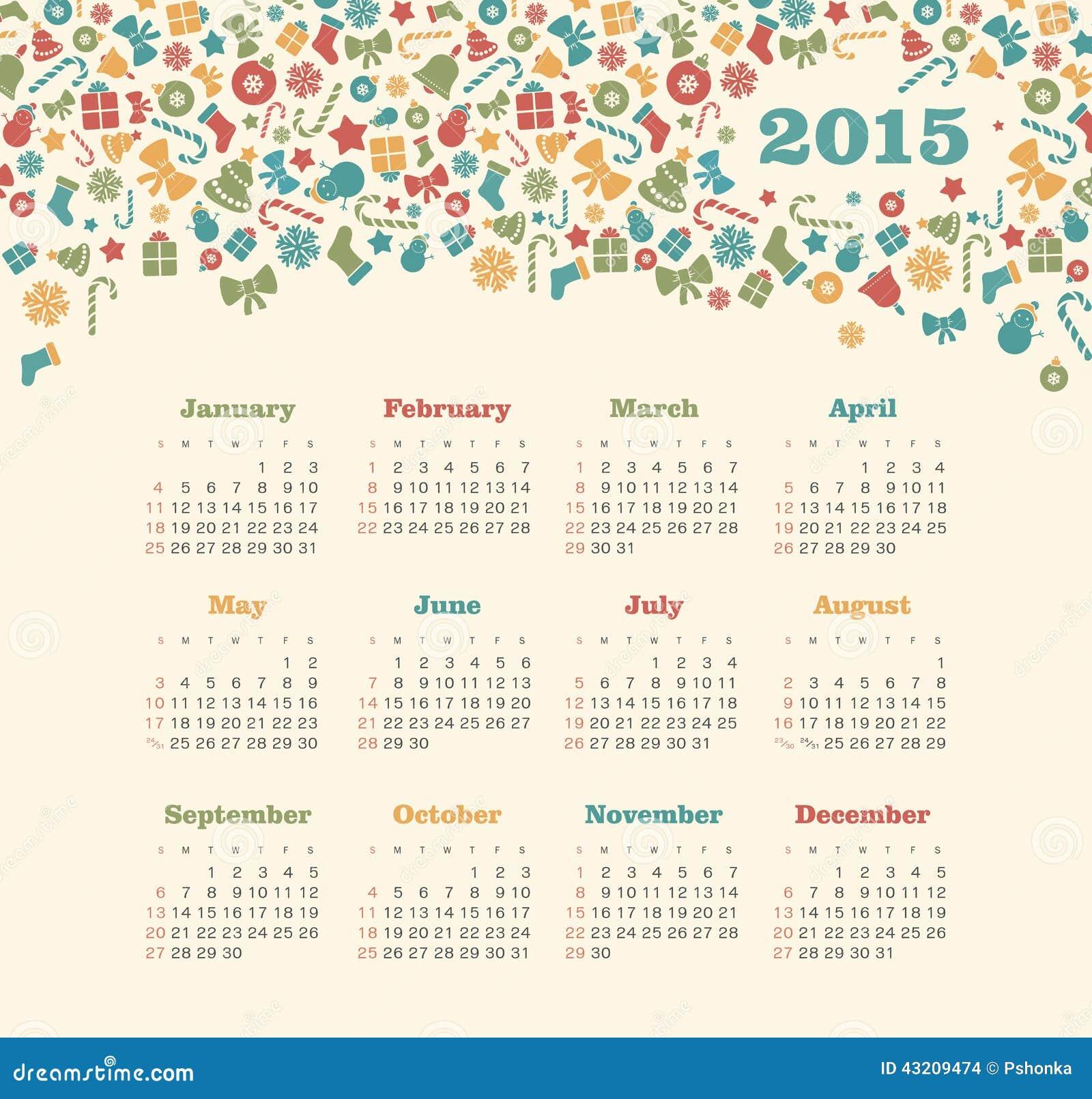 Christmas Calendar 2015 : Calendar year with christmas pattern stock vector