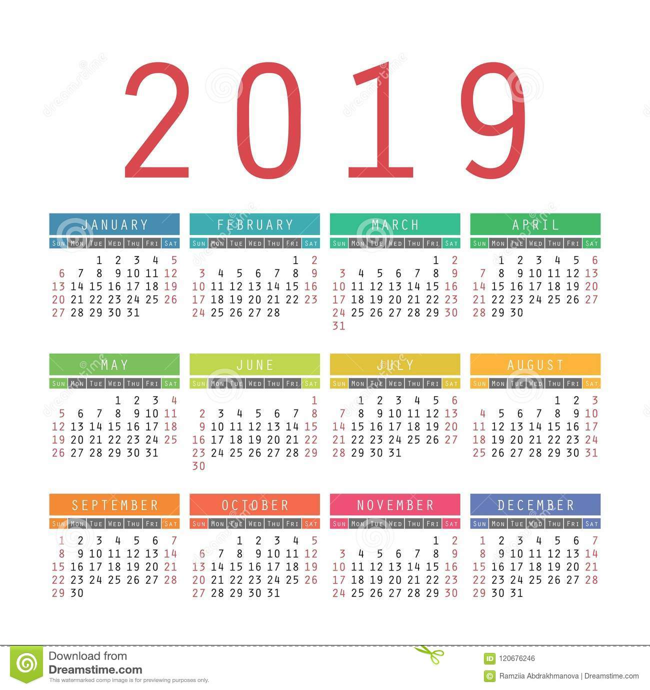 calendar 2019 year colorful vector template week starts on sun
