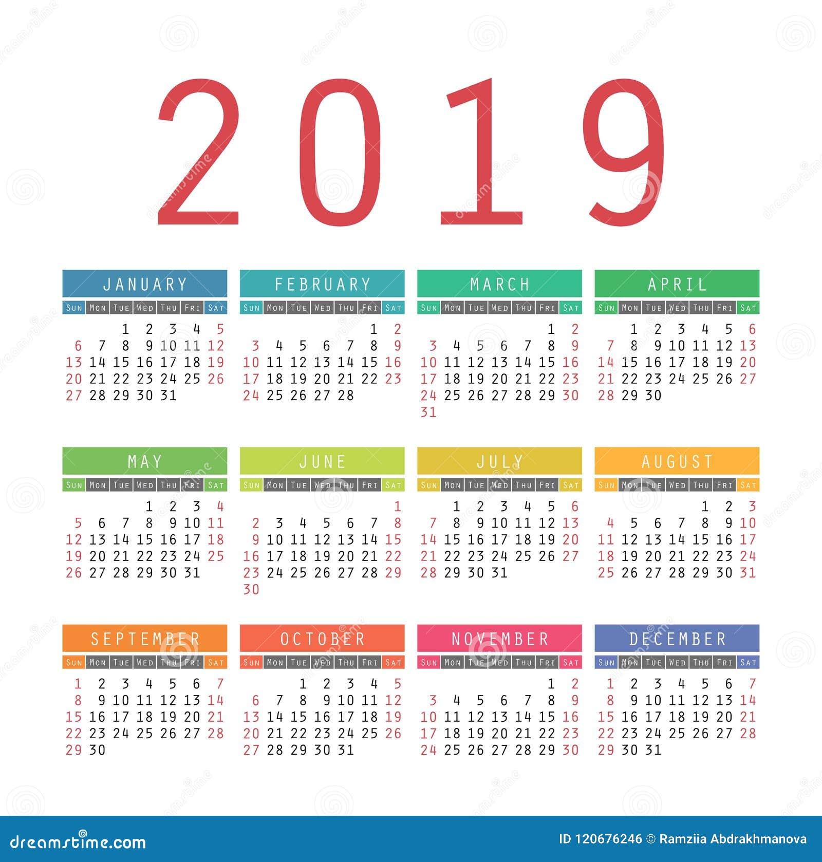 calendar 2019 year colorful vector template week starts on sun