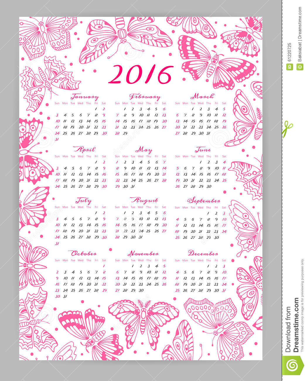 Calendar 2016 Year With Decorative Butterflies Stock Vector - Image ...