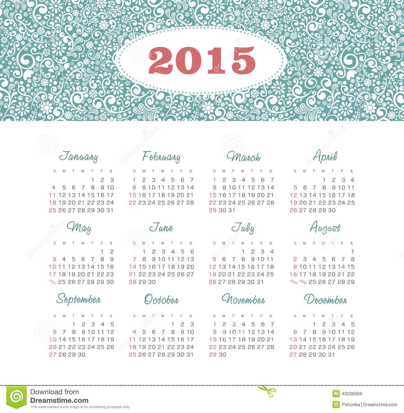 calendar 2015 year with decorative pattern stock vector