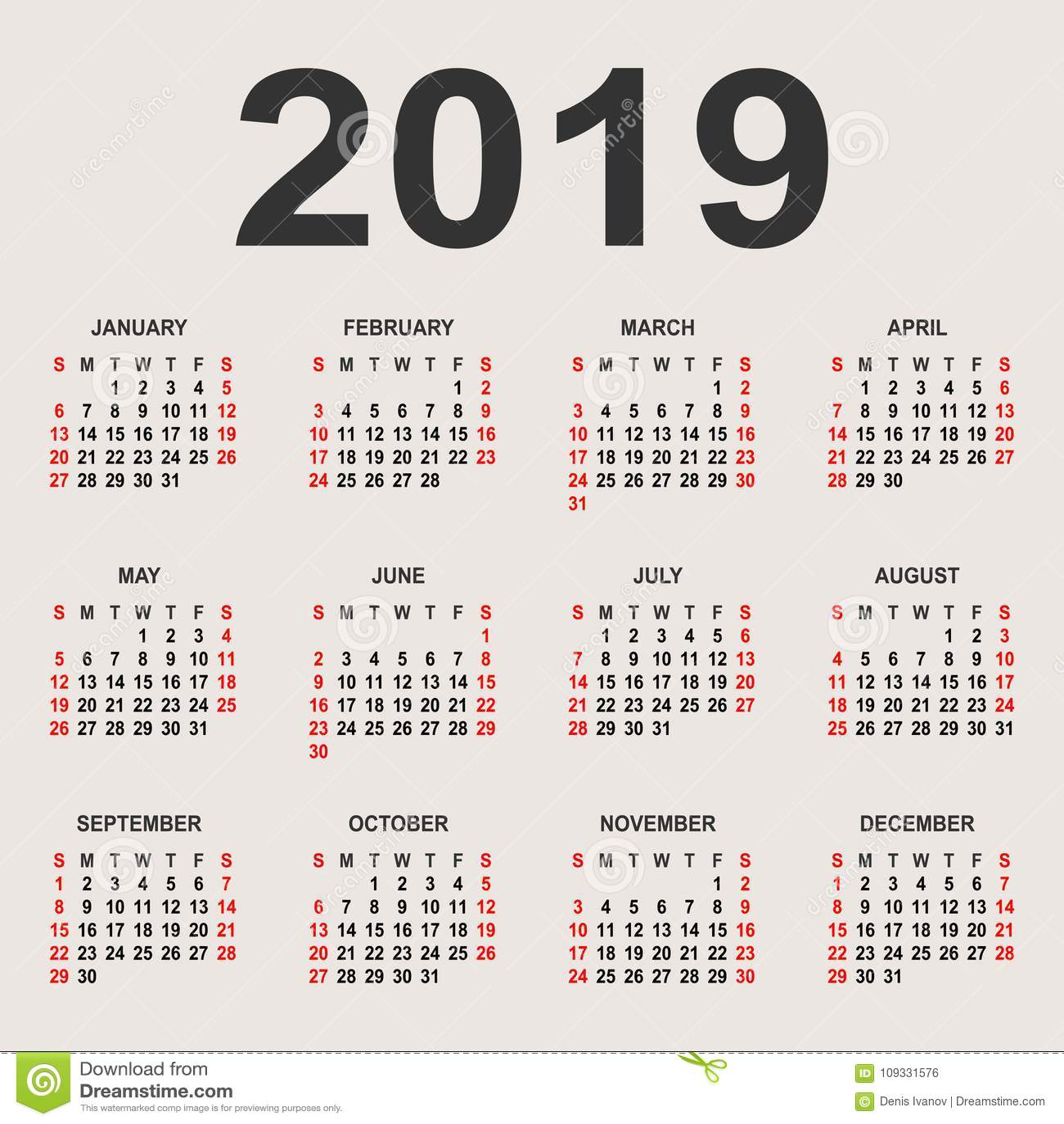 2019 Calendar Year Template