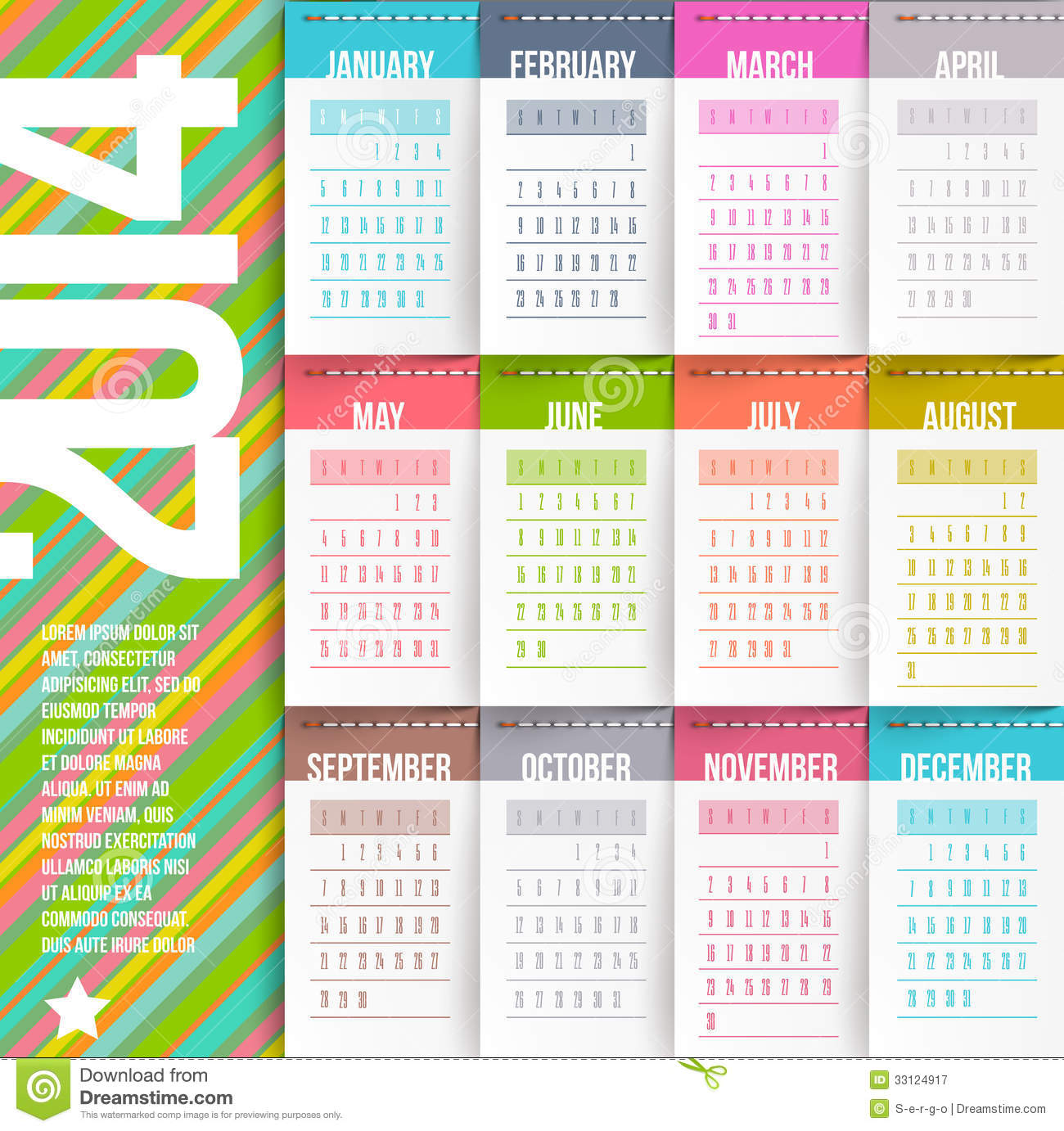 Calendar Of 2014 Year Stock Vector Illustration Of Calendar 33124917