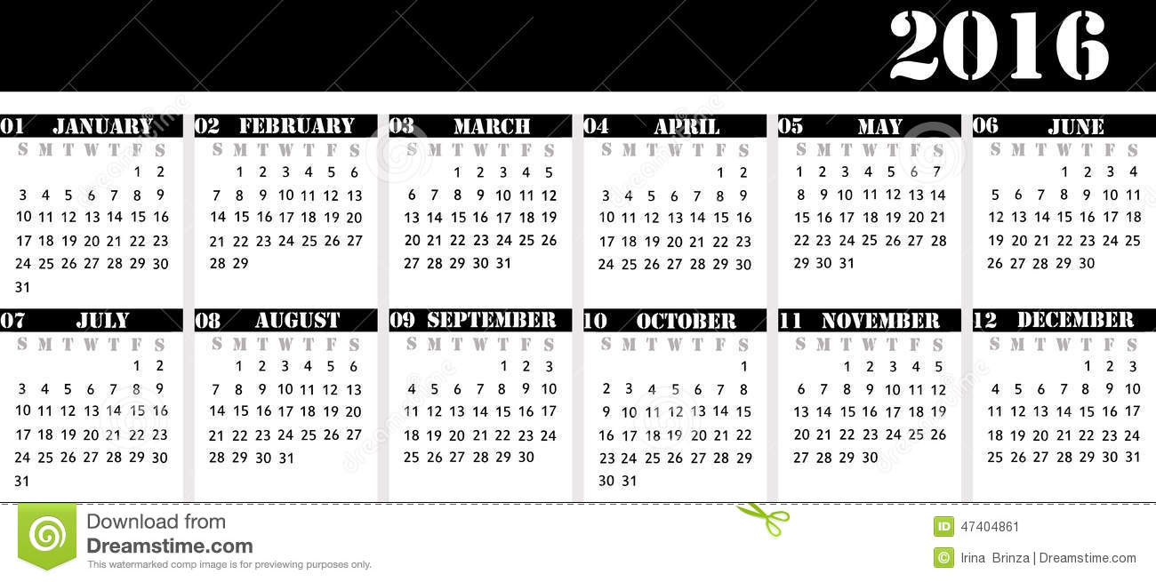 Table Calendar 2016 : Calendar for the year desk strict