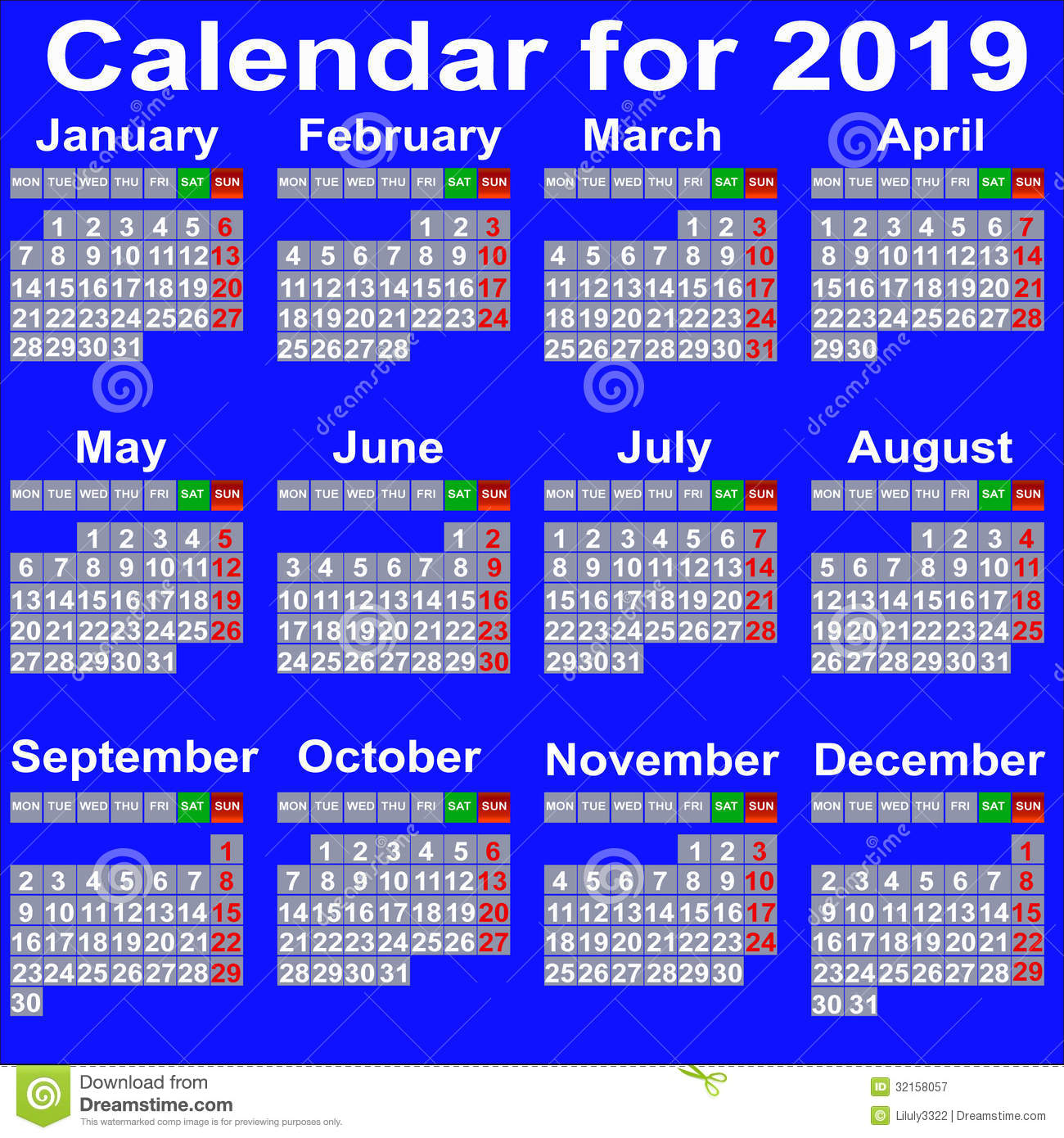 Calendar For 2019 Year. Royalty Free Stock Photography