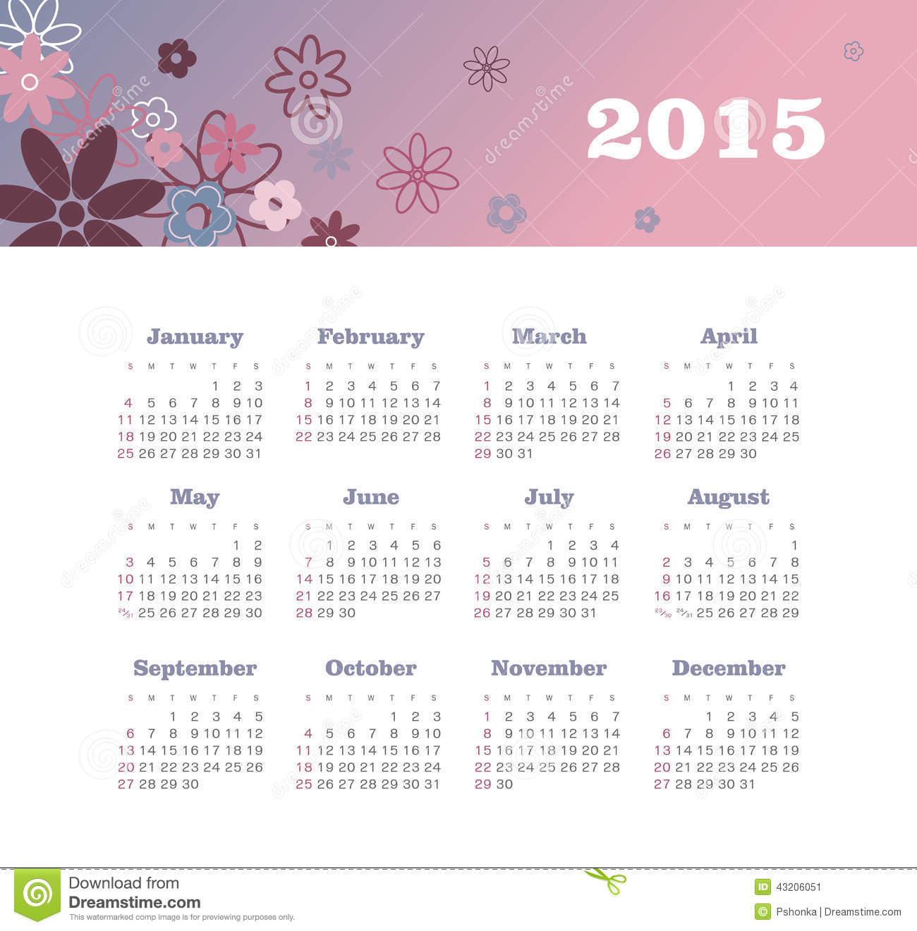 Calendar 2015 year with flowers