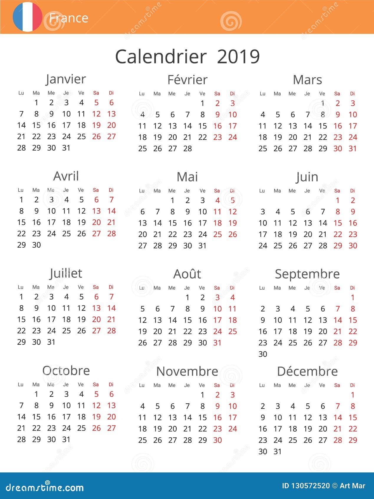 Calendario 2019 Con Numero Week.Calendar 2019 Year For France Country Stock Illustration