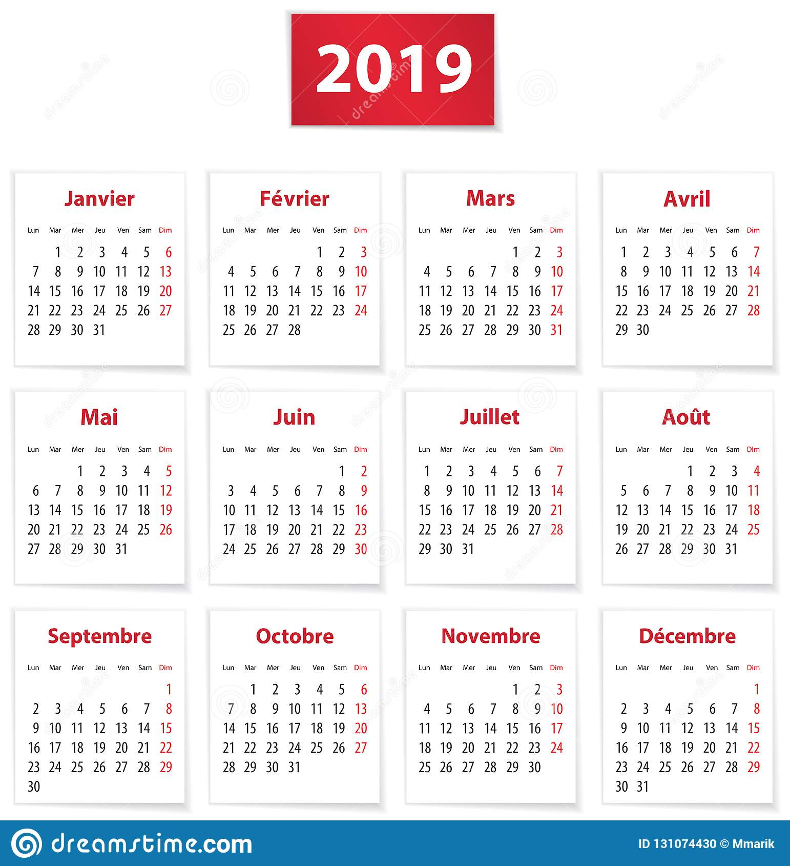Calendrier 2019 Vectoriel.2019 French Calendar On White Papers Stock Vector