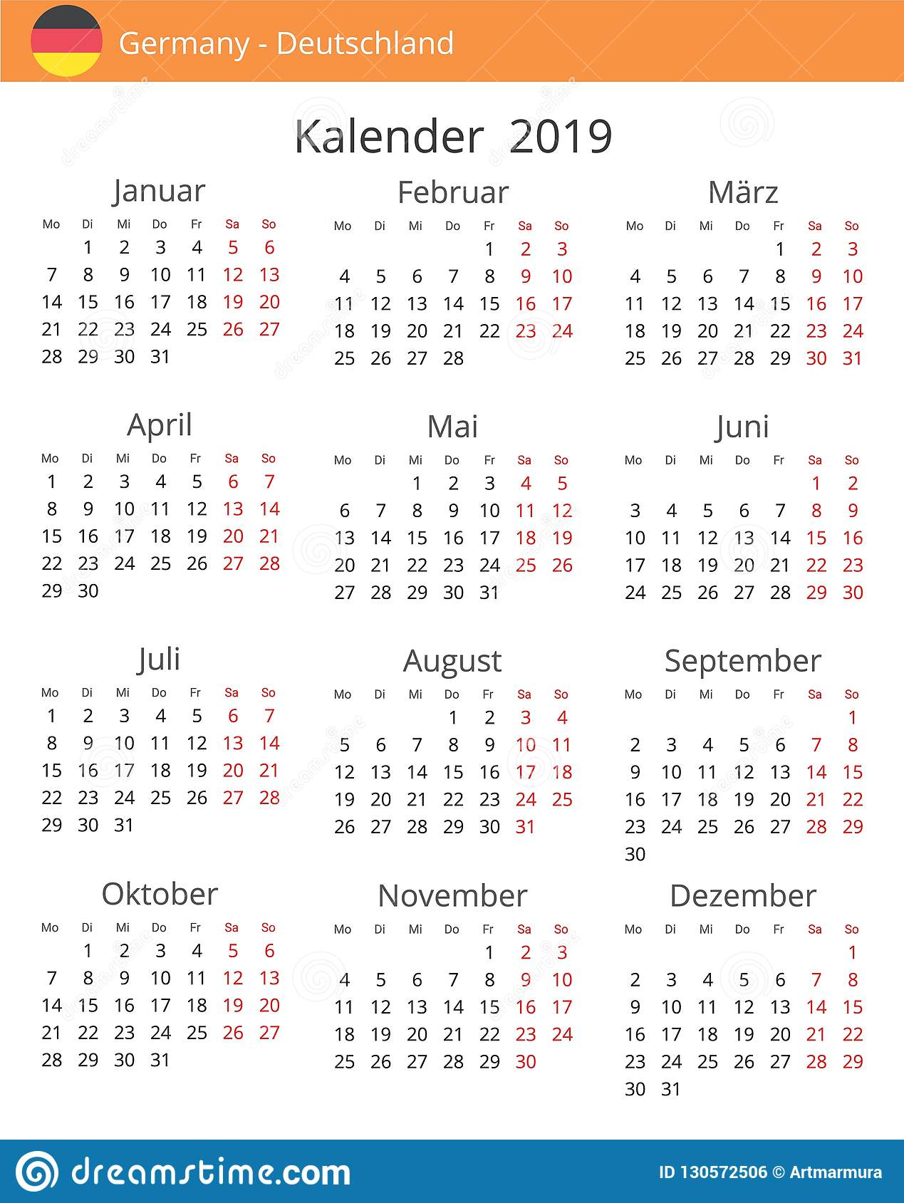 Year Calendar Germany : Calendar year for germany country stock illustration