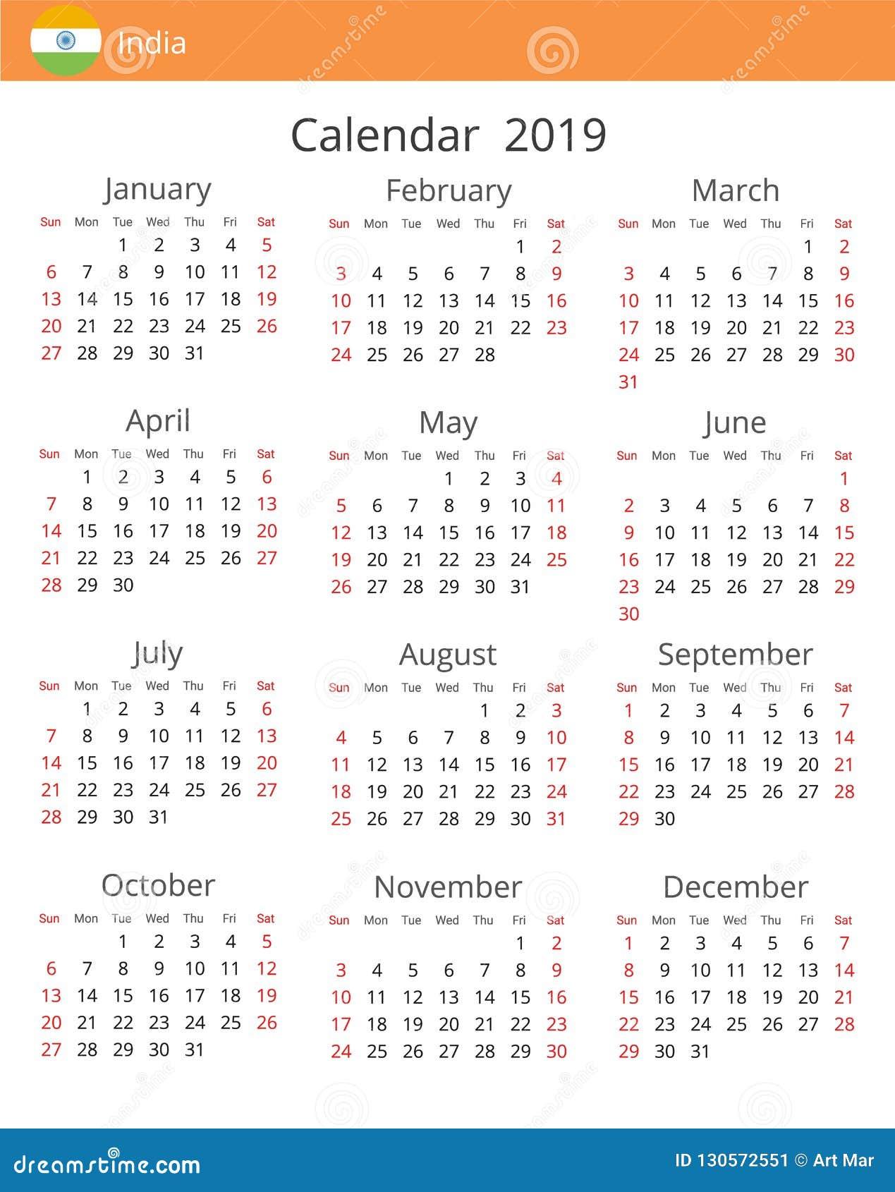 Calendario 2019 English.Calendar 2019 Year For India Country Stock Illustration
