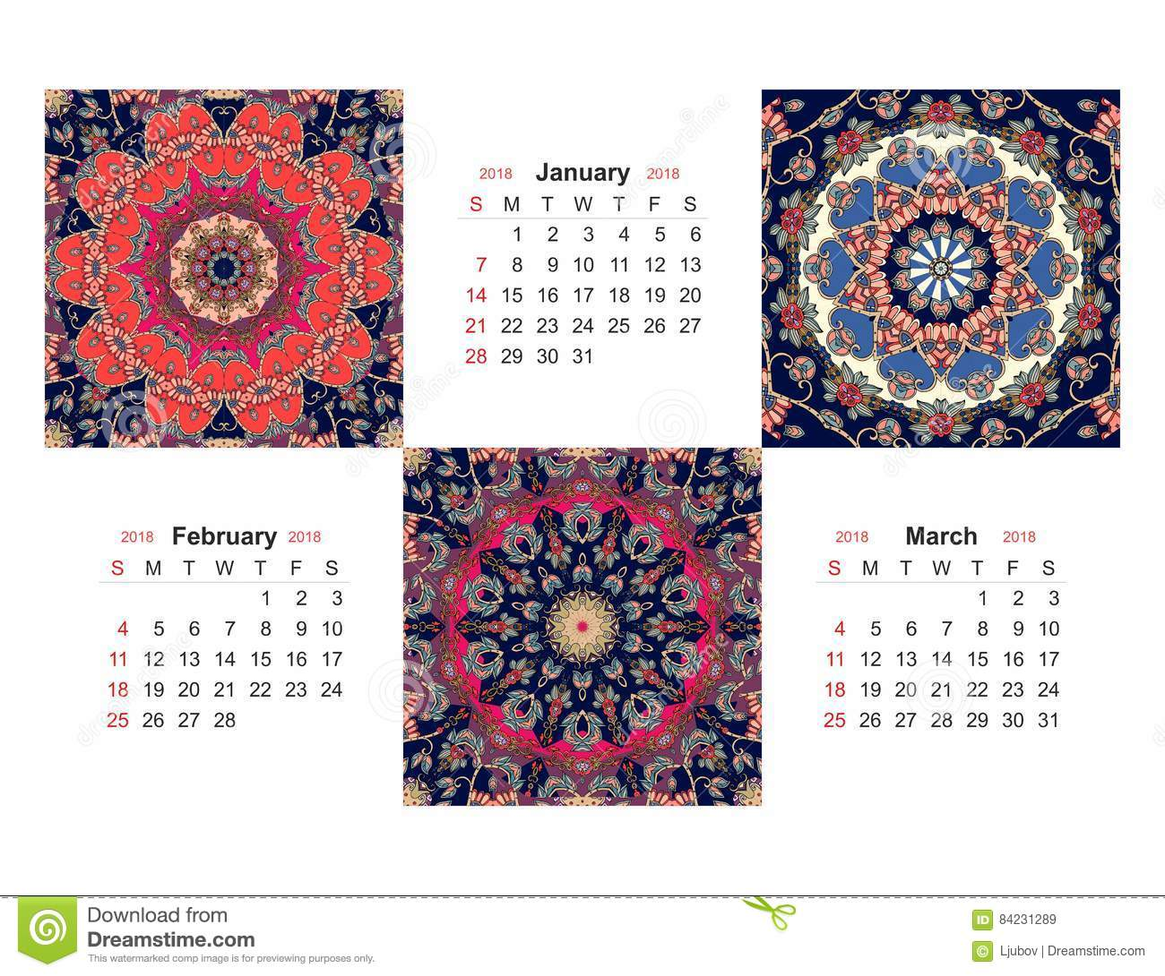 February 2018 Calendar Vintage : Calendar for year on indian ornamental background