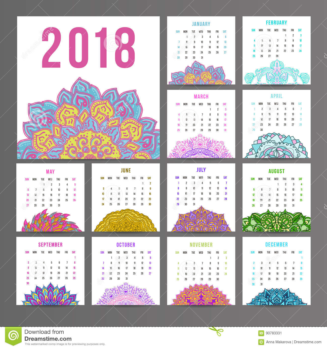 Calendario Con Week 2018.Calendar For 2018 Year On Indian Ornamental Stock
