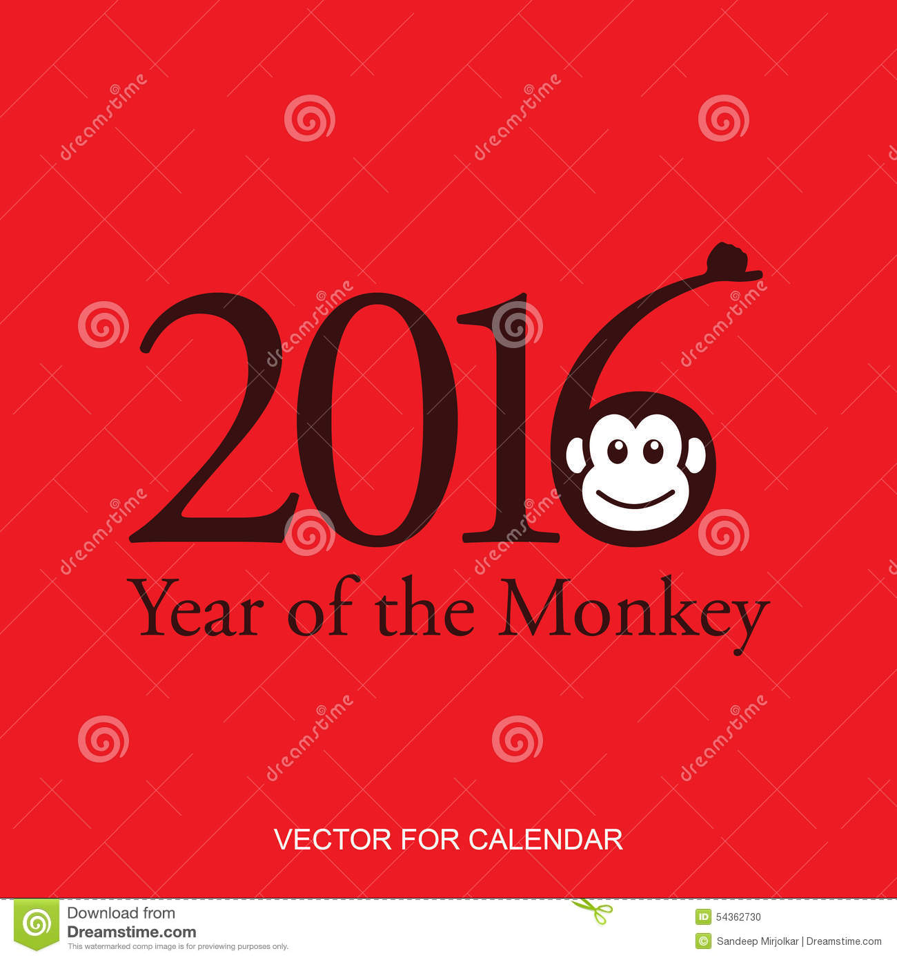 Calendar 2016 Year Of The Monkey: Chinese Zodiac Sign Stock Vector ...