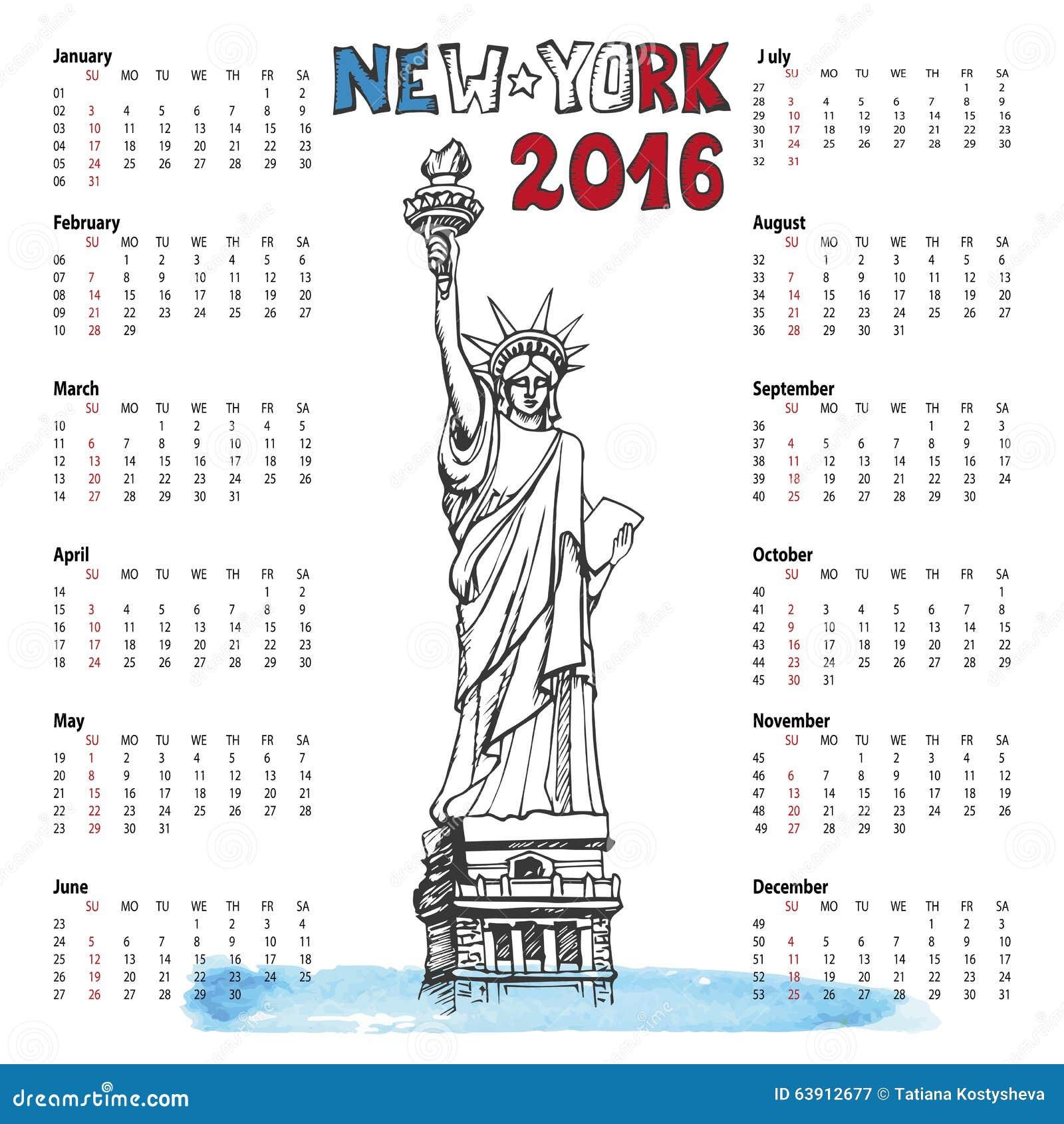 Calendar New York April : Calendar year new york doodle statue of stock vector