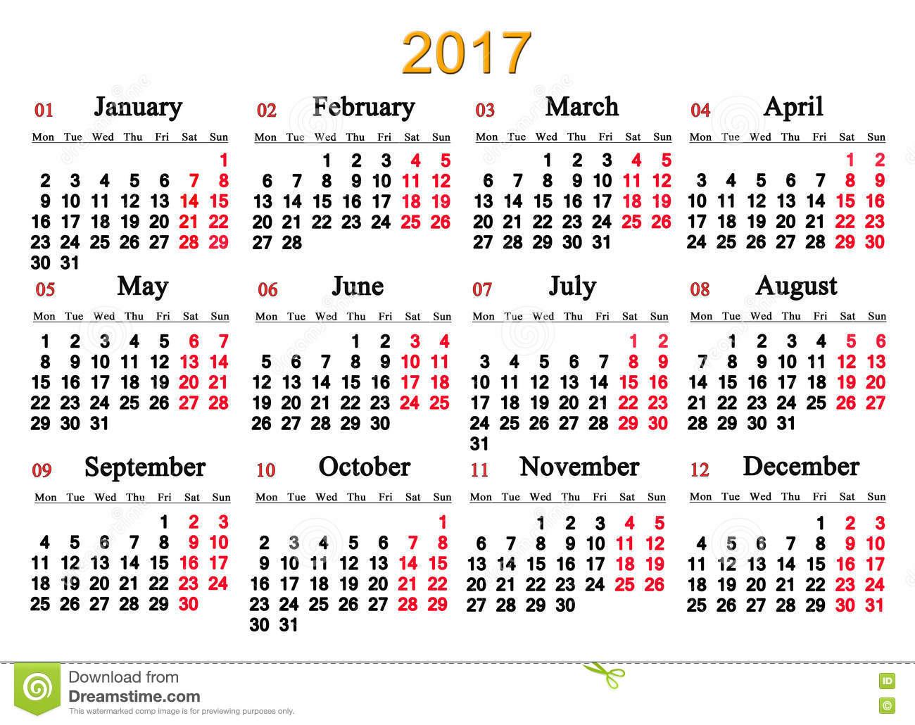 Calendar For 2017 Year Stock Illustration - Image: 78698286