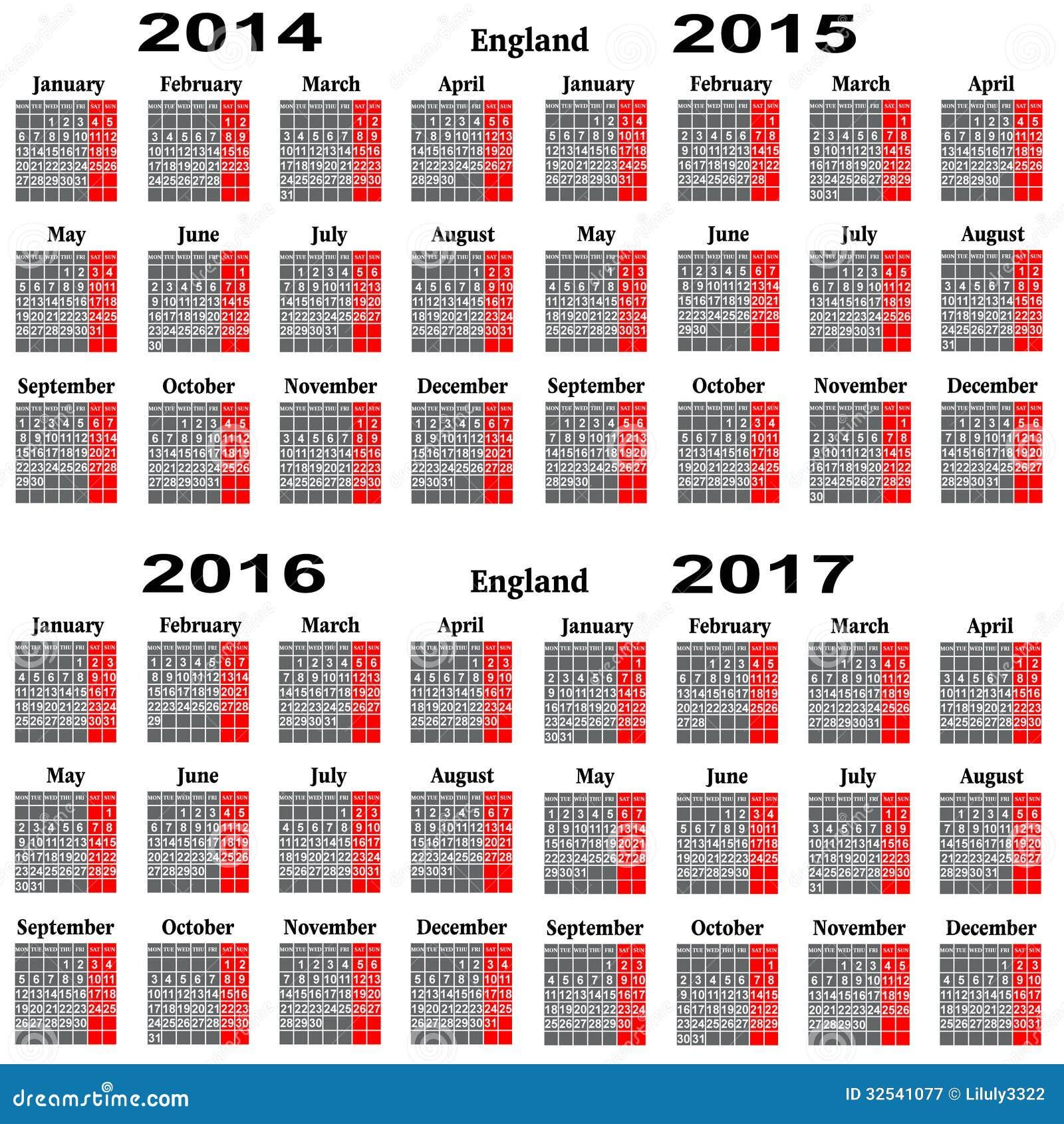 kalendar stock 2014 Calendar For 2014,2015,2016,2017 Year. Stock Illustration  kalendar stock 2014
