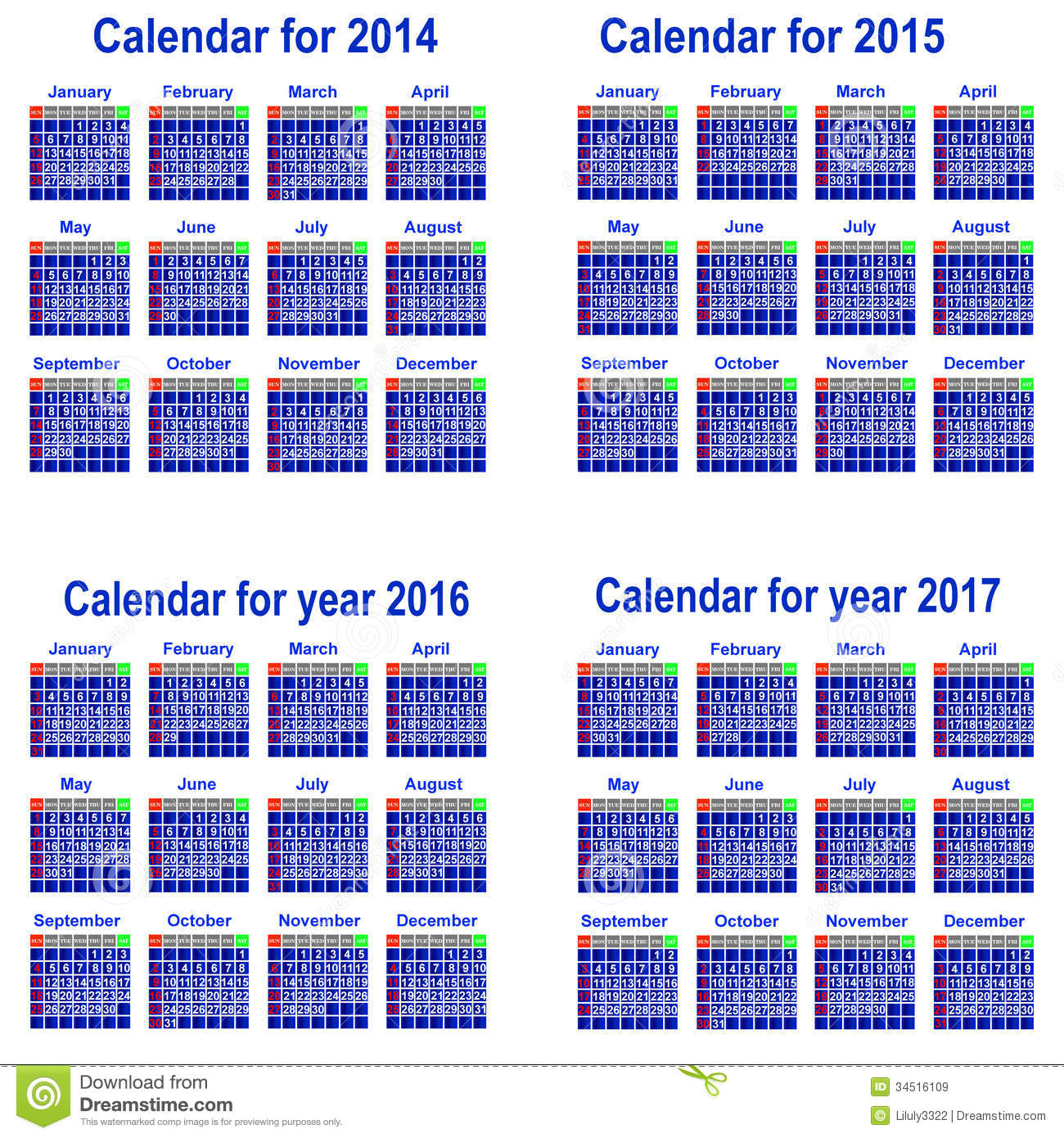 Year Calendar Chart : Calendar for year royalty free stock