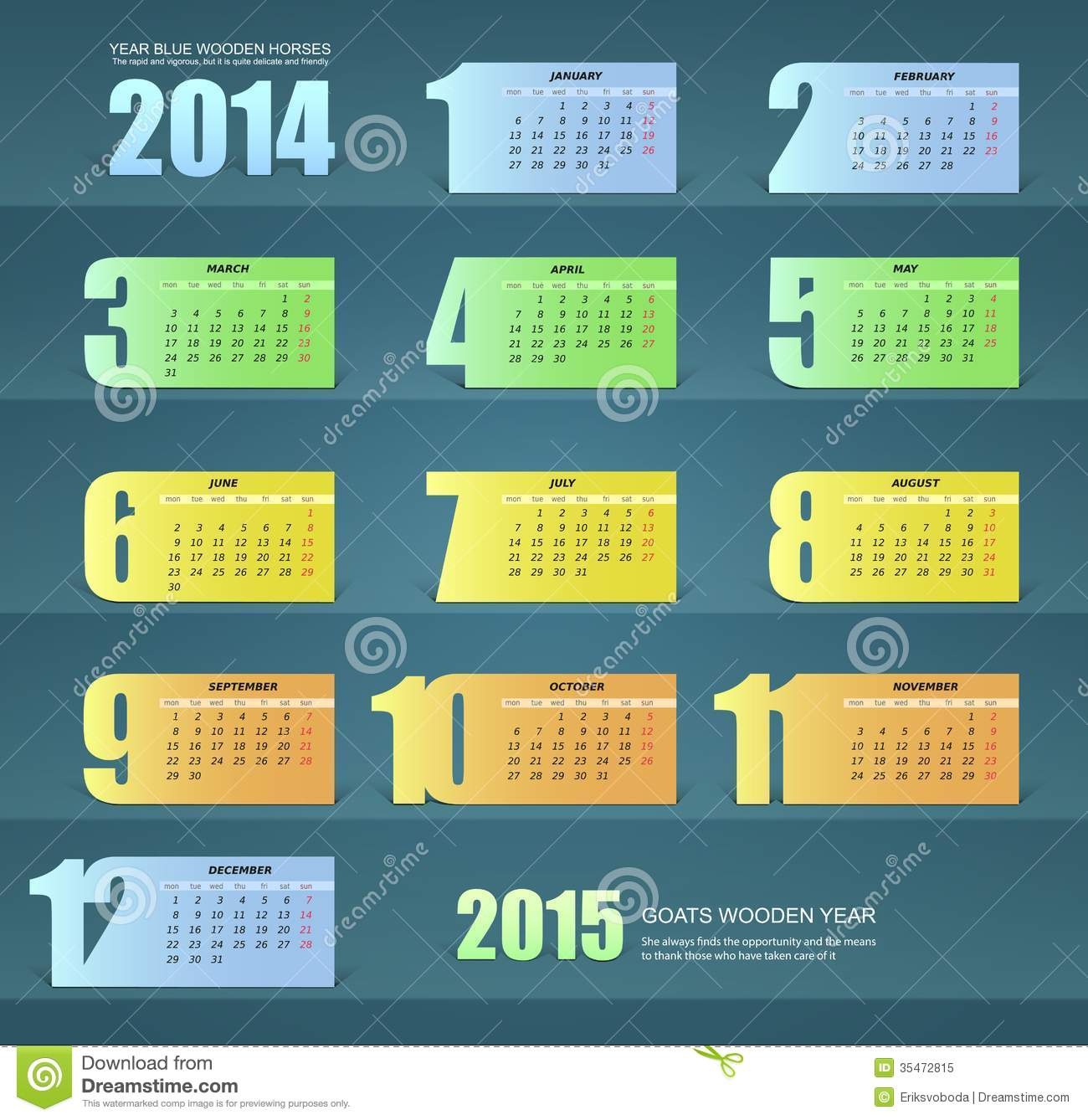 Calendar for the year 2014, paper design
