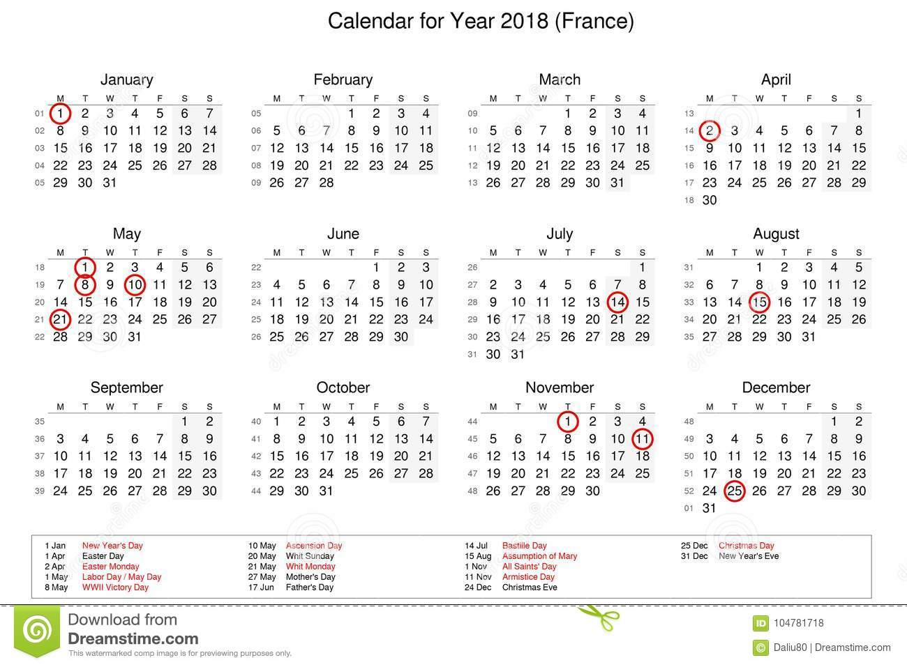 Calendar Of Year 2018 With Public Holidays And Bank Holidays For ...