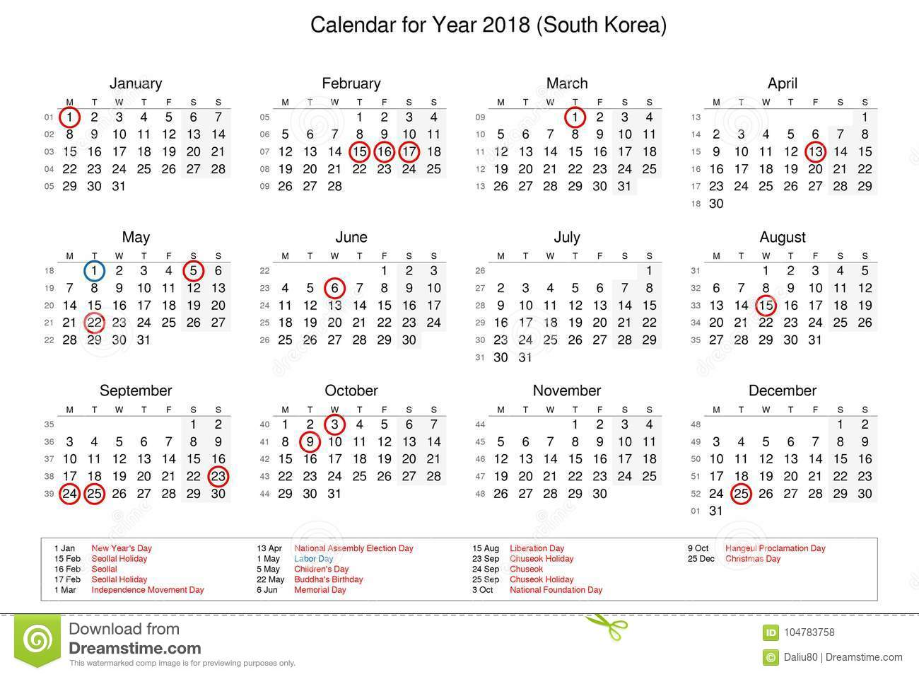 Calendar Of Year 2018 With Public Holidays And Bank Holidays For