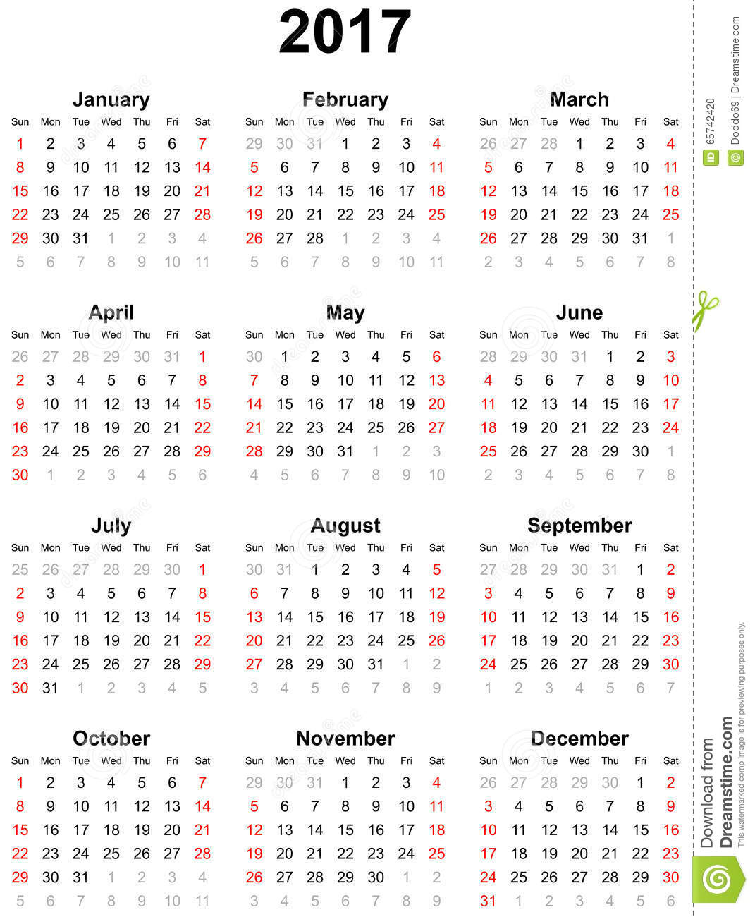 Calendar Year 2017 – Printable Pages