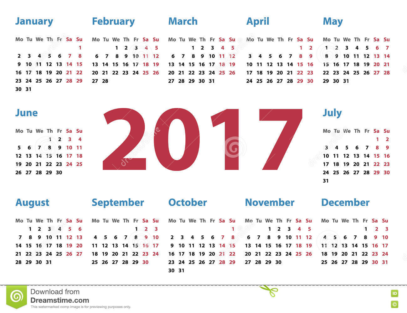 Horizontal Calendar Design : Calendar for year stock vector image