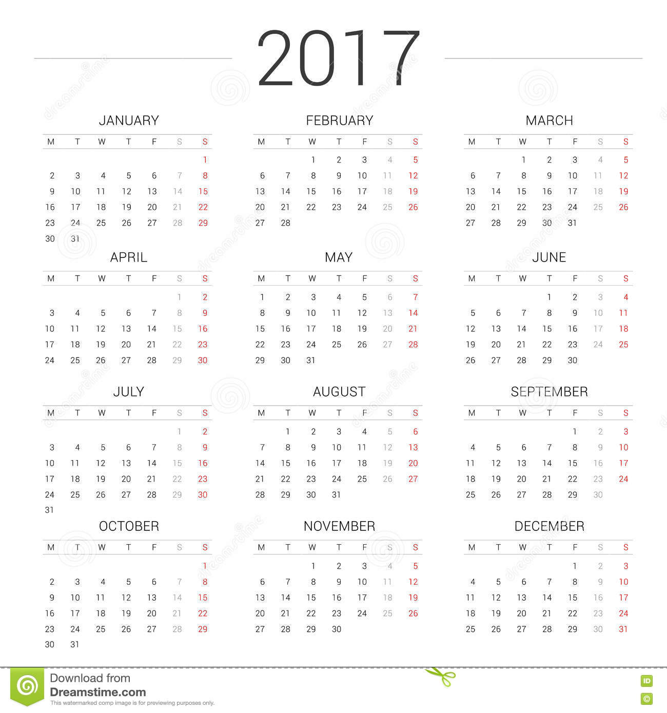 Calendar 2017 Year Simple Style.Week Starts Monday Stock Vector ...
