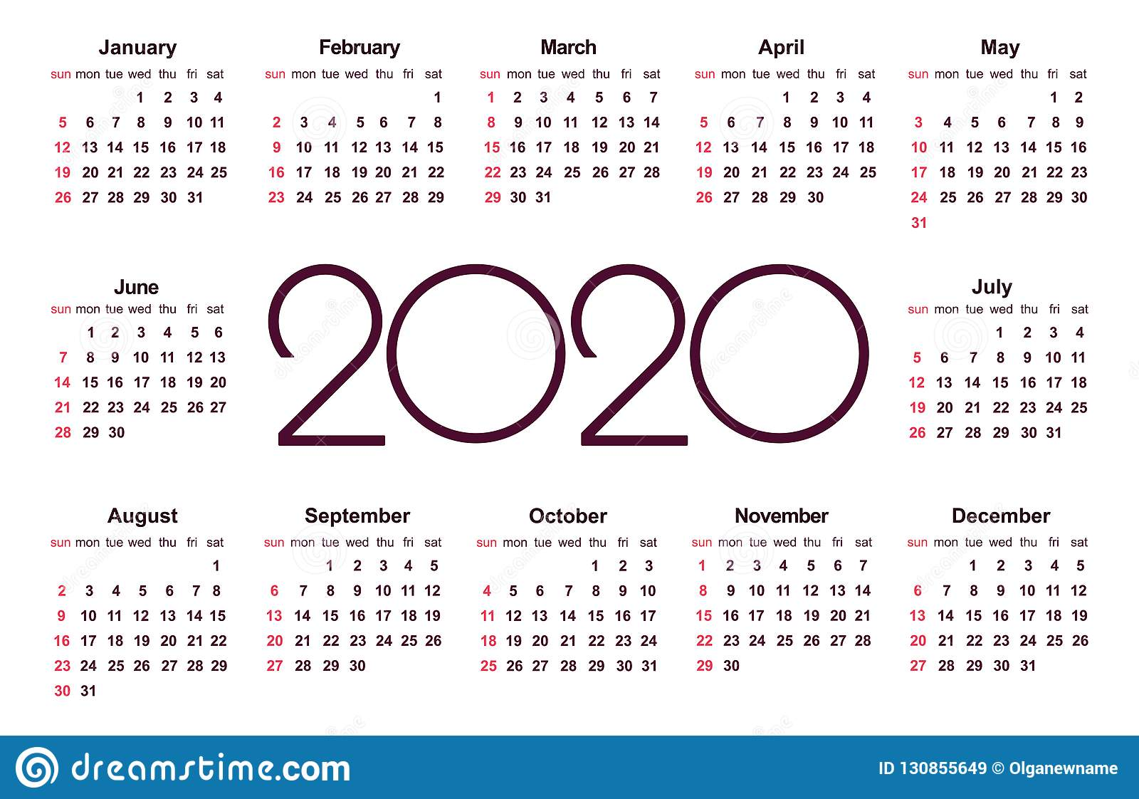 Calendario 2020 Vector Gratis.Calendar 2020 Year Simple Vector Template Stock Vector