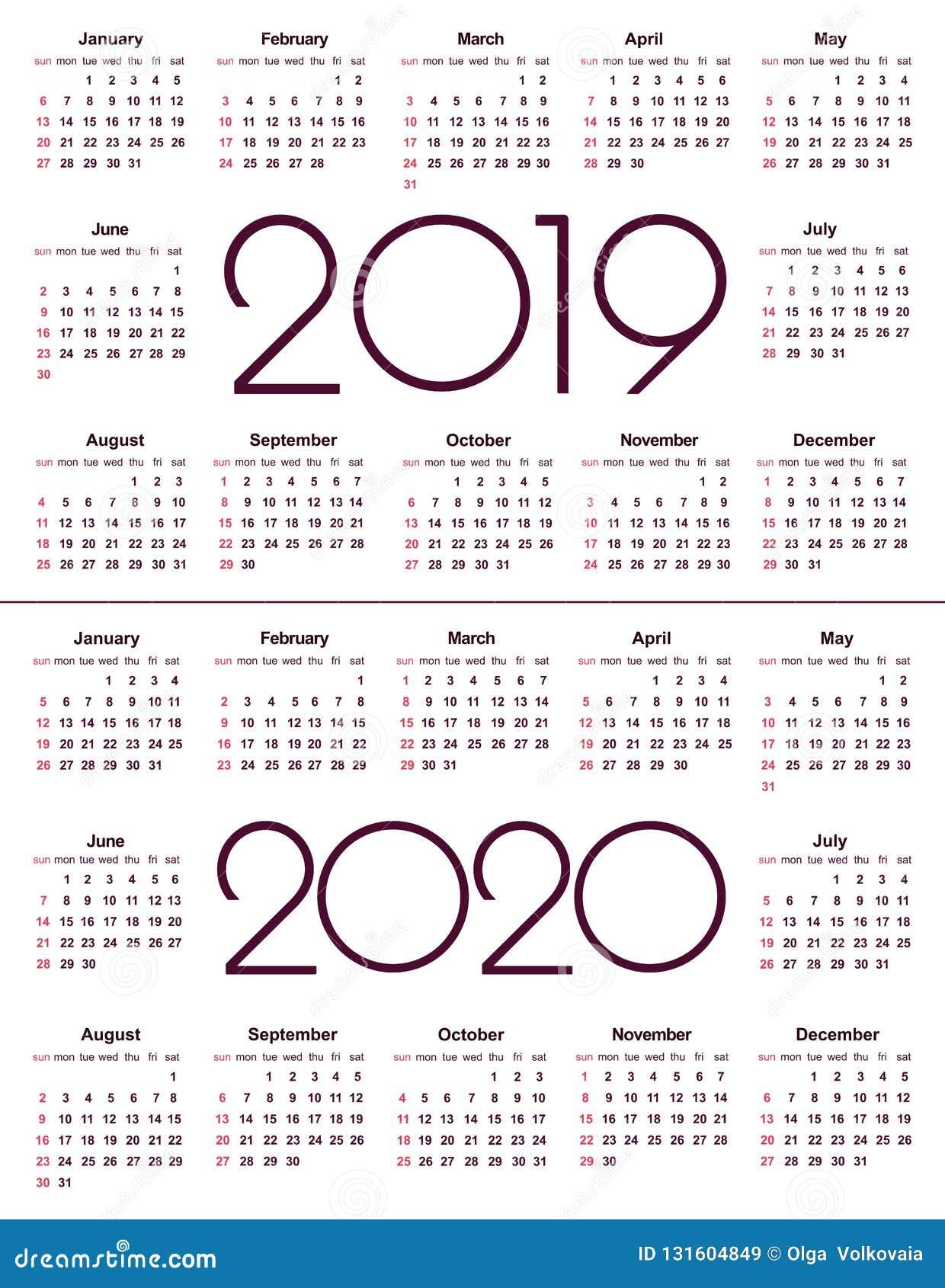 Calendario 2019 2020.Calendar 2019 And 2020 Year Simple Vector Template Stationery