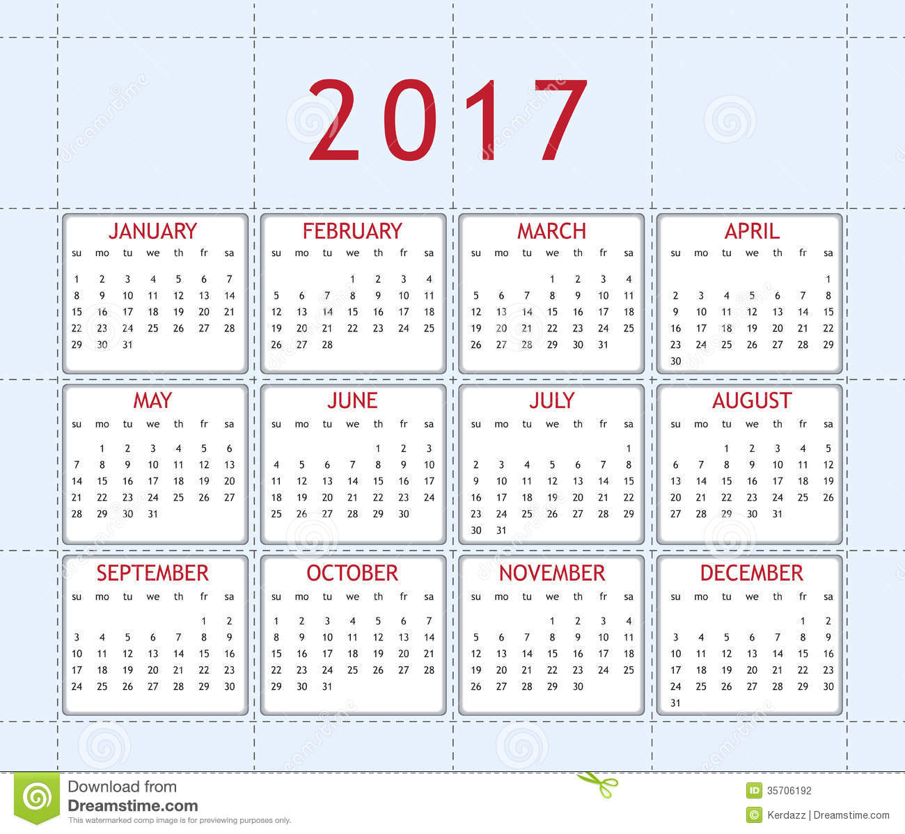 Calendar For Year 2017 Stock Photography - Image: 35706192