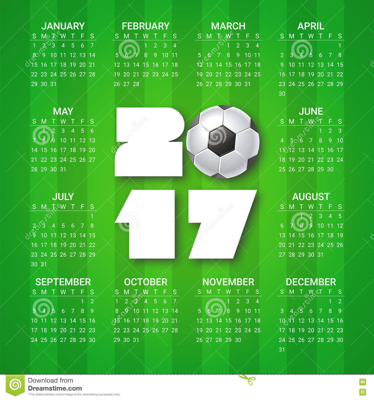 Calendar Year Us Soccer : Calendar for year with soccer ball on bright green