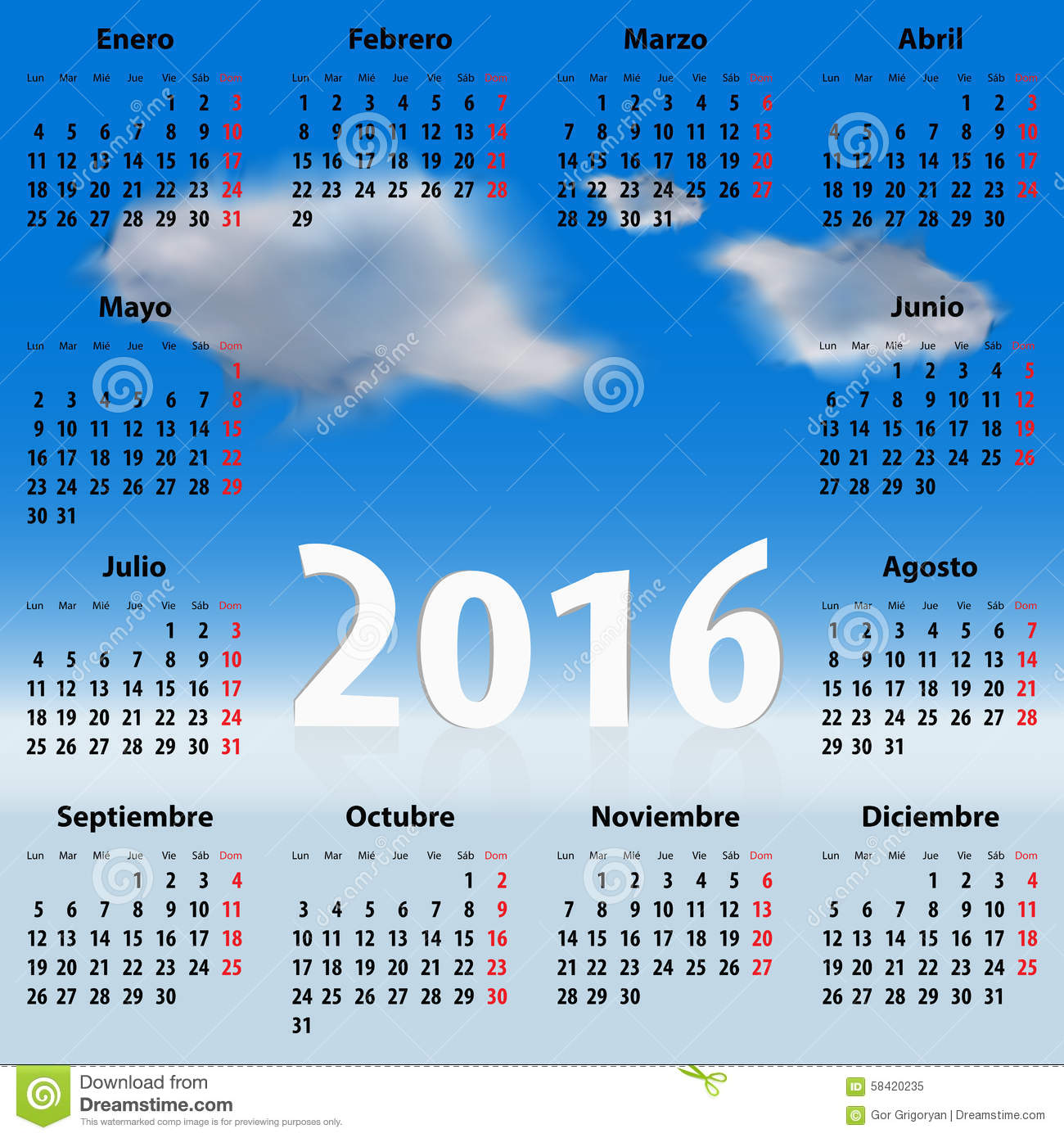 Calendar Year Names : Calendar for year in spanish with clouds stock photo