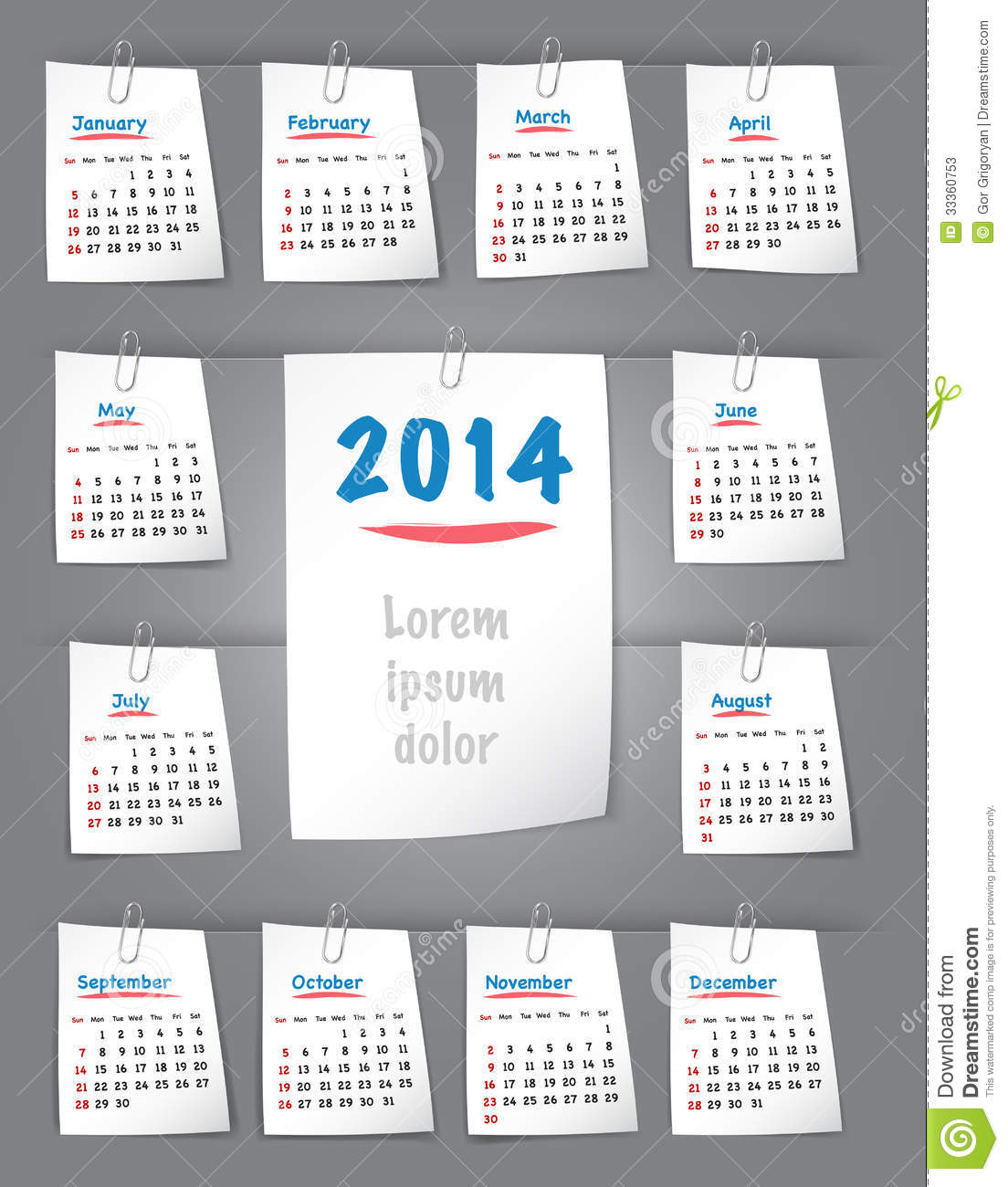 Calendar For 2014 Year On Sticky Notes Attached To The