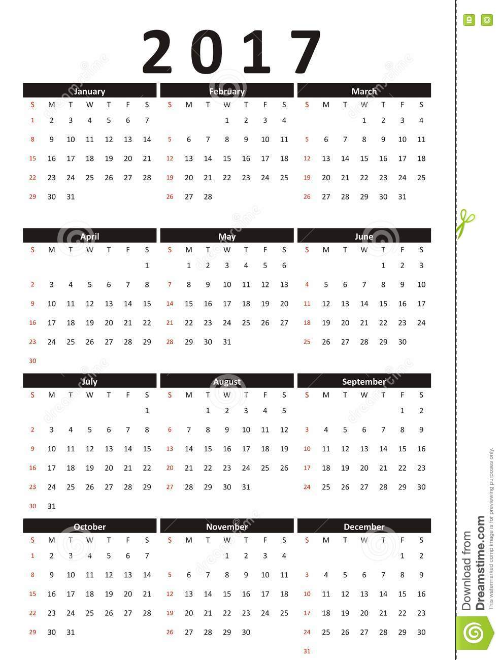 Calendar Black And White : Calendar year strict business style black and white