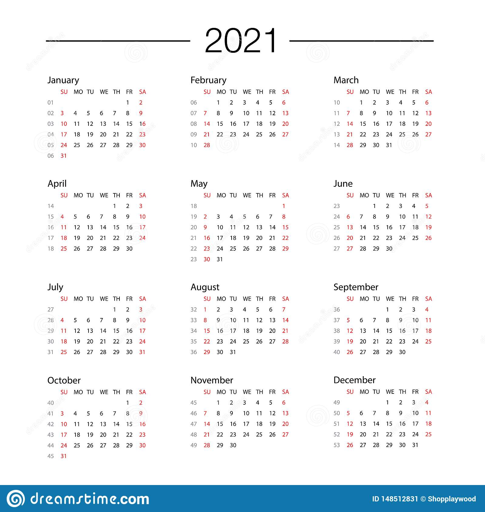 Days Calendar 2021 Calendar 2021 Year Template Day Planner In This Minimalist Stock