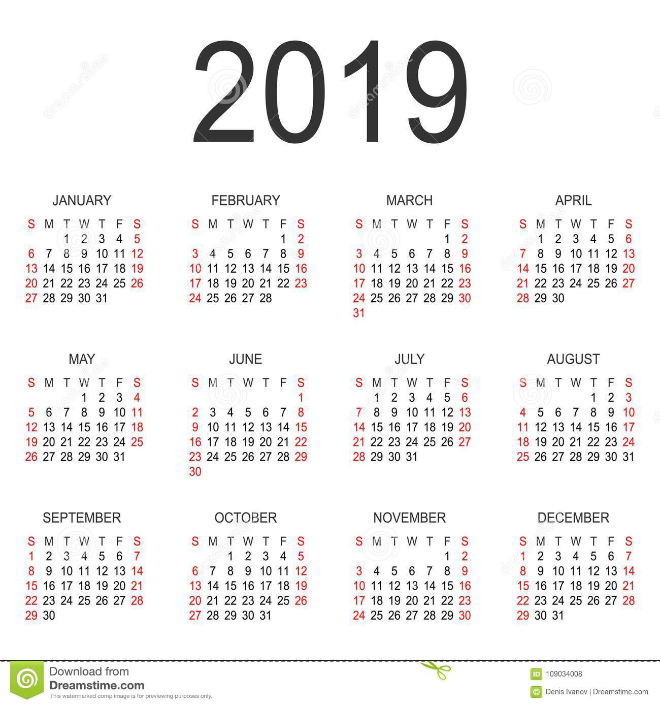 calendar 2019 year vector design template