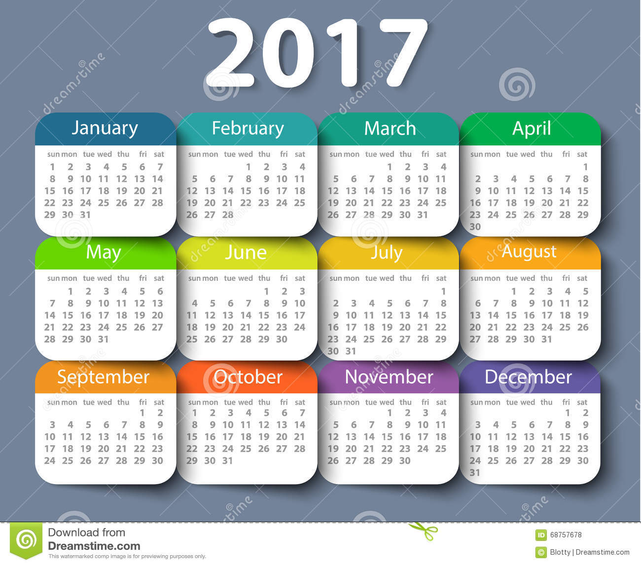 Yearly Calendar Design : Calendar year vector design template stock