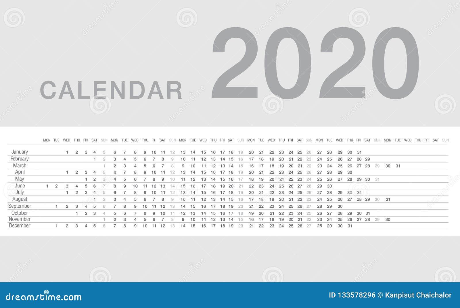 Calendar Year 2020 Calendar Year 2020 Vector Design Template, Simple And Clean Design