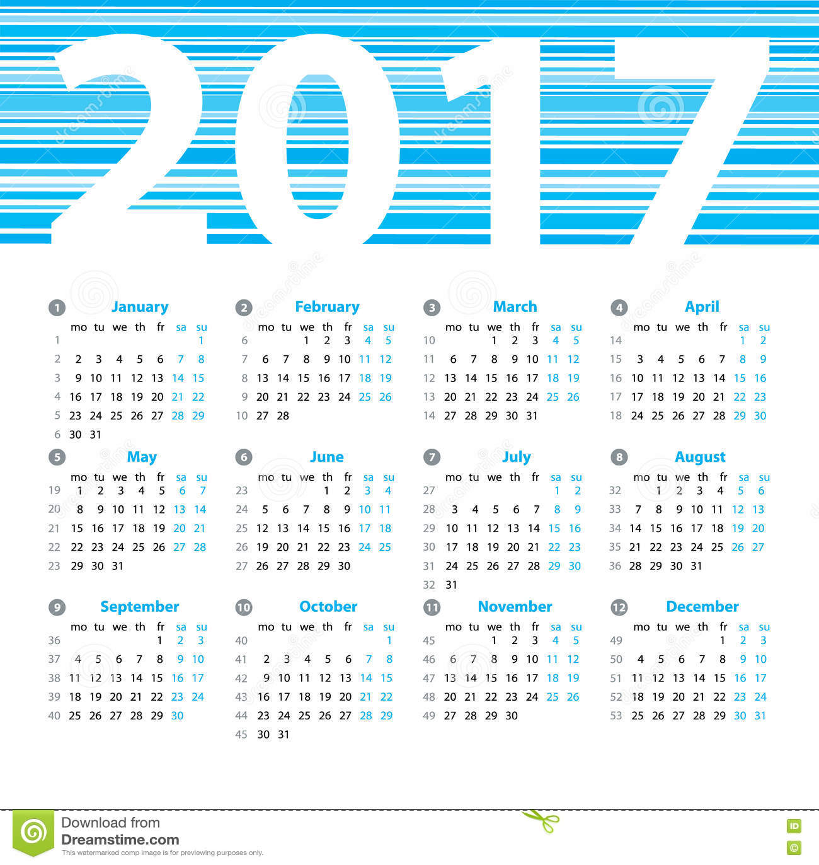 Year Calendar Numbers Template : Calendar year vector design template stock