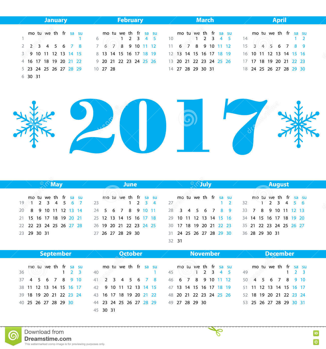 Calendar 2017 Year Vector Design Template With Week Numbers Stock ...