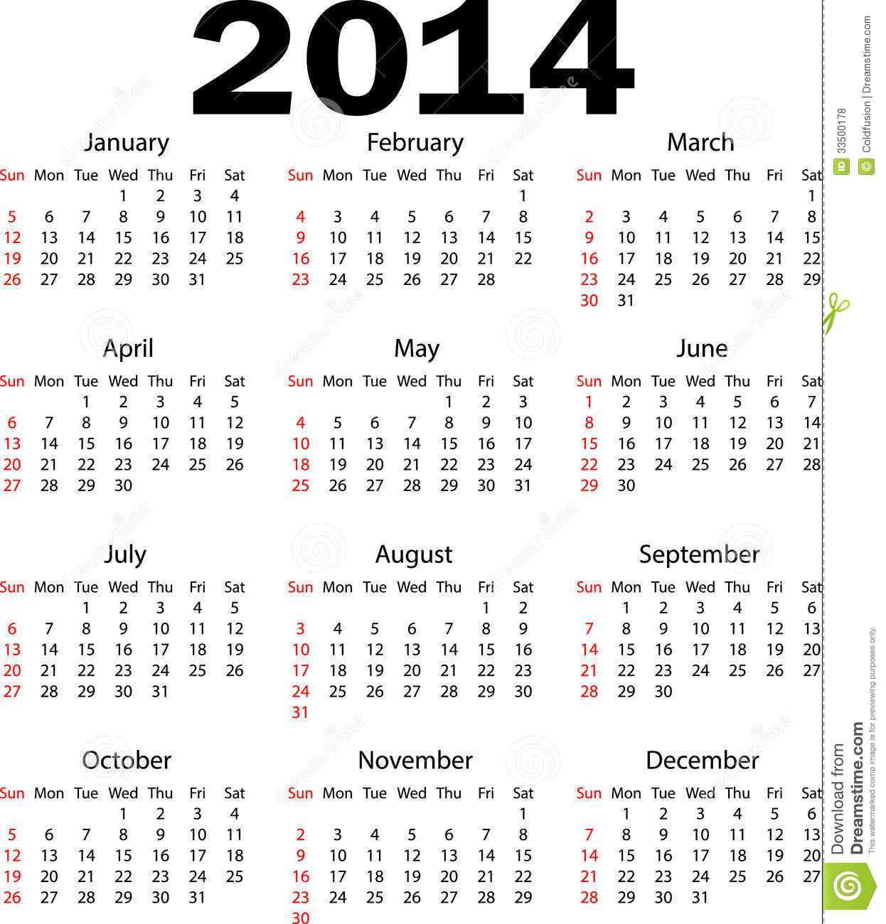 2014 new year calendar vector illustration stock vector