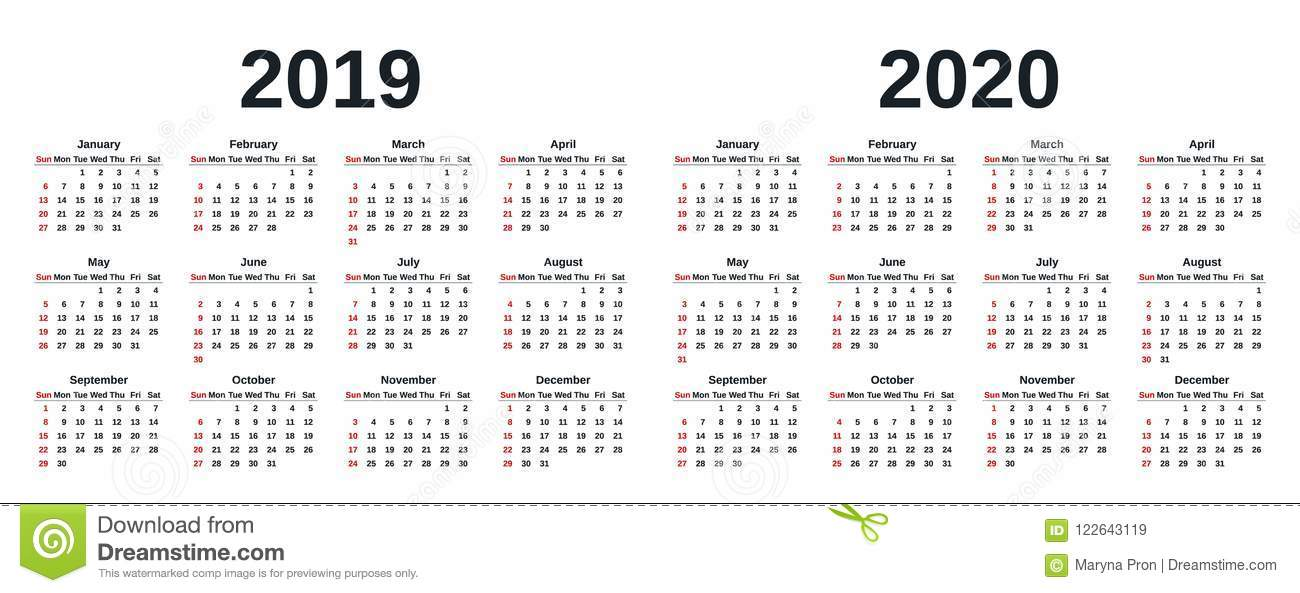 2019 calendar year vector illustration template planner