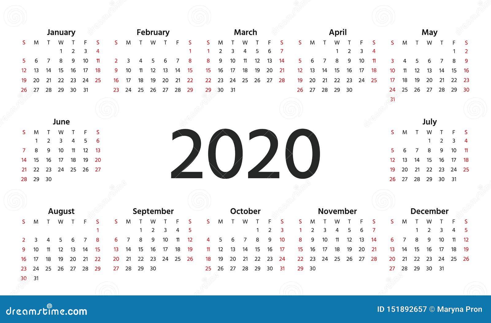 2020 calendar year  vector illustration  template planner