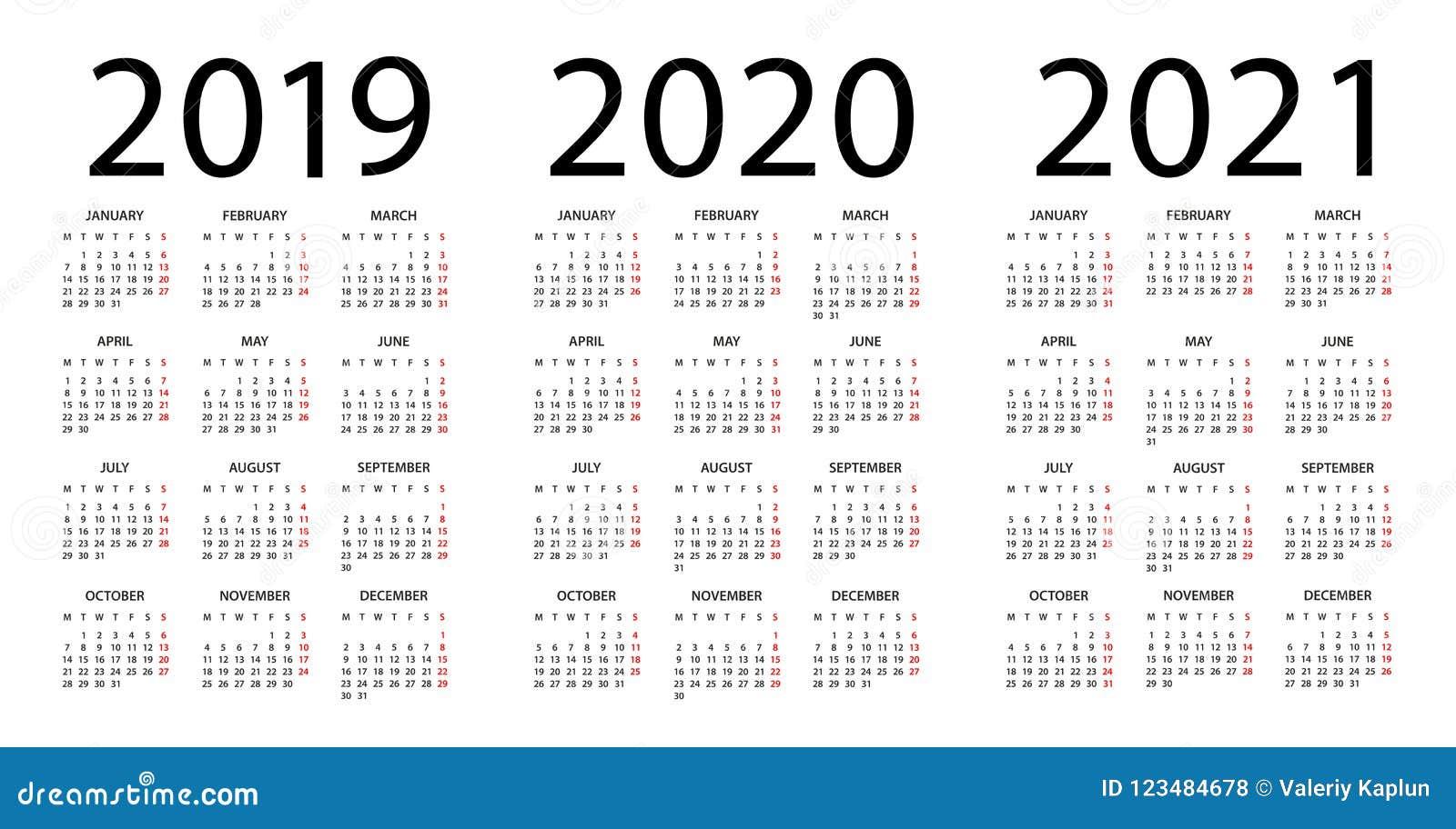 Calendar 2019 2020 2021 - illustration. Week starts on Monday