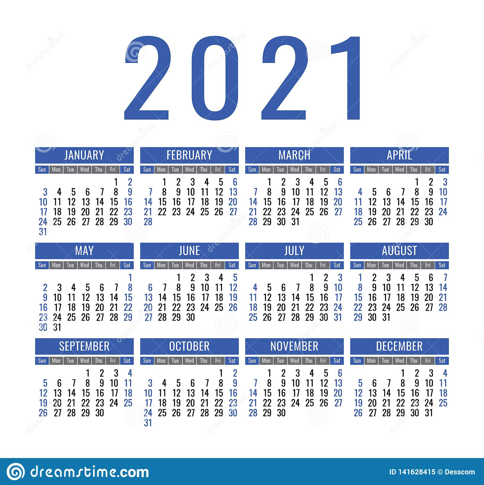 Calendar 2021 Year. Vector Pocket Or Wall Calender Template