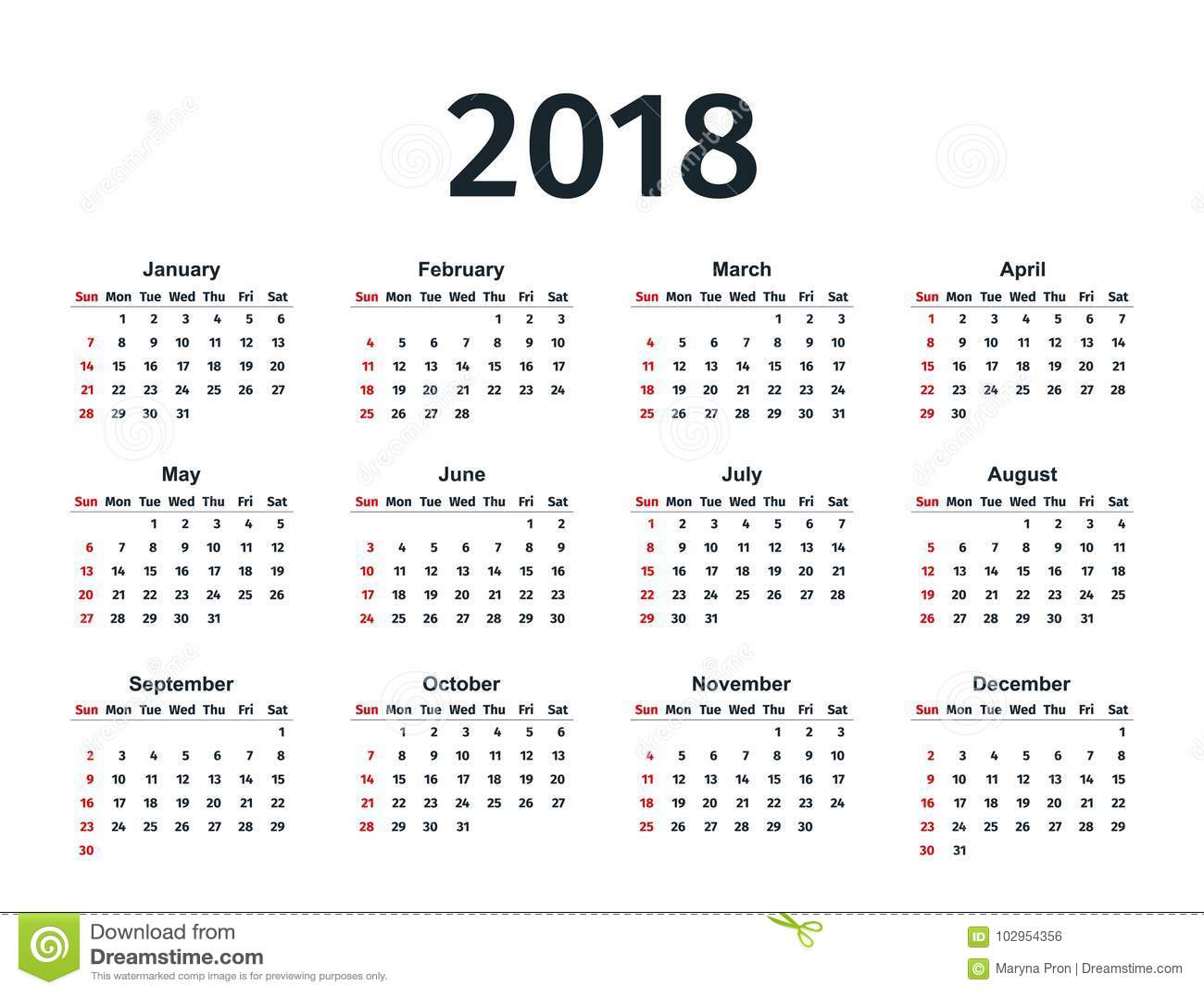 calendar 2018 year  vector template planner  stock vector