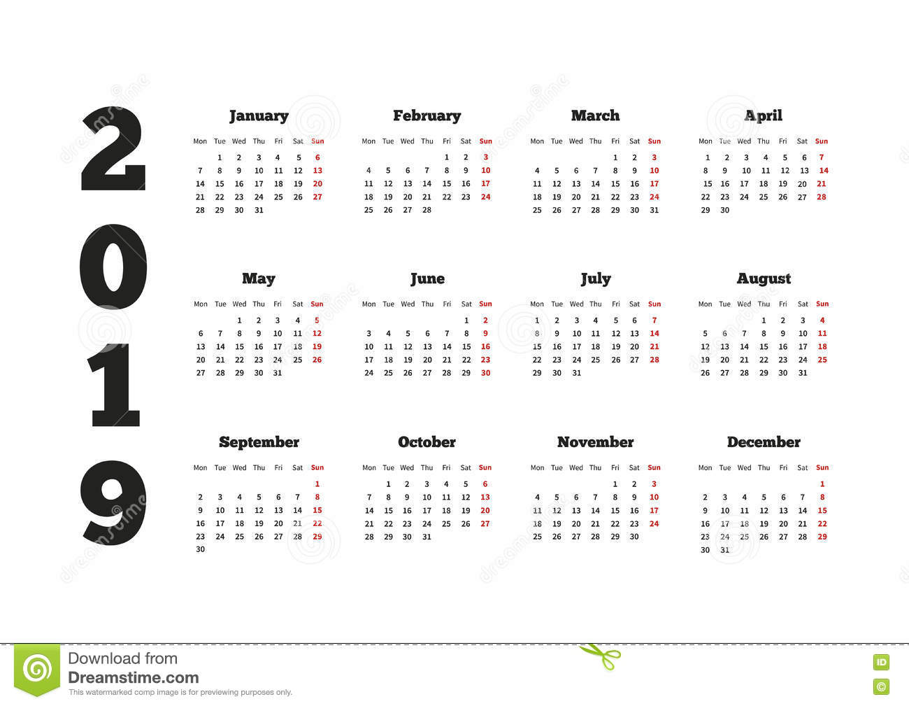 calendar on 2019 year with week starting from monday a4 sheet stock illustration